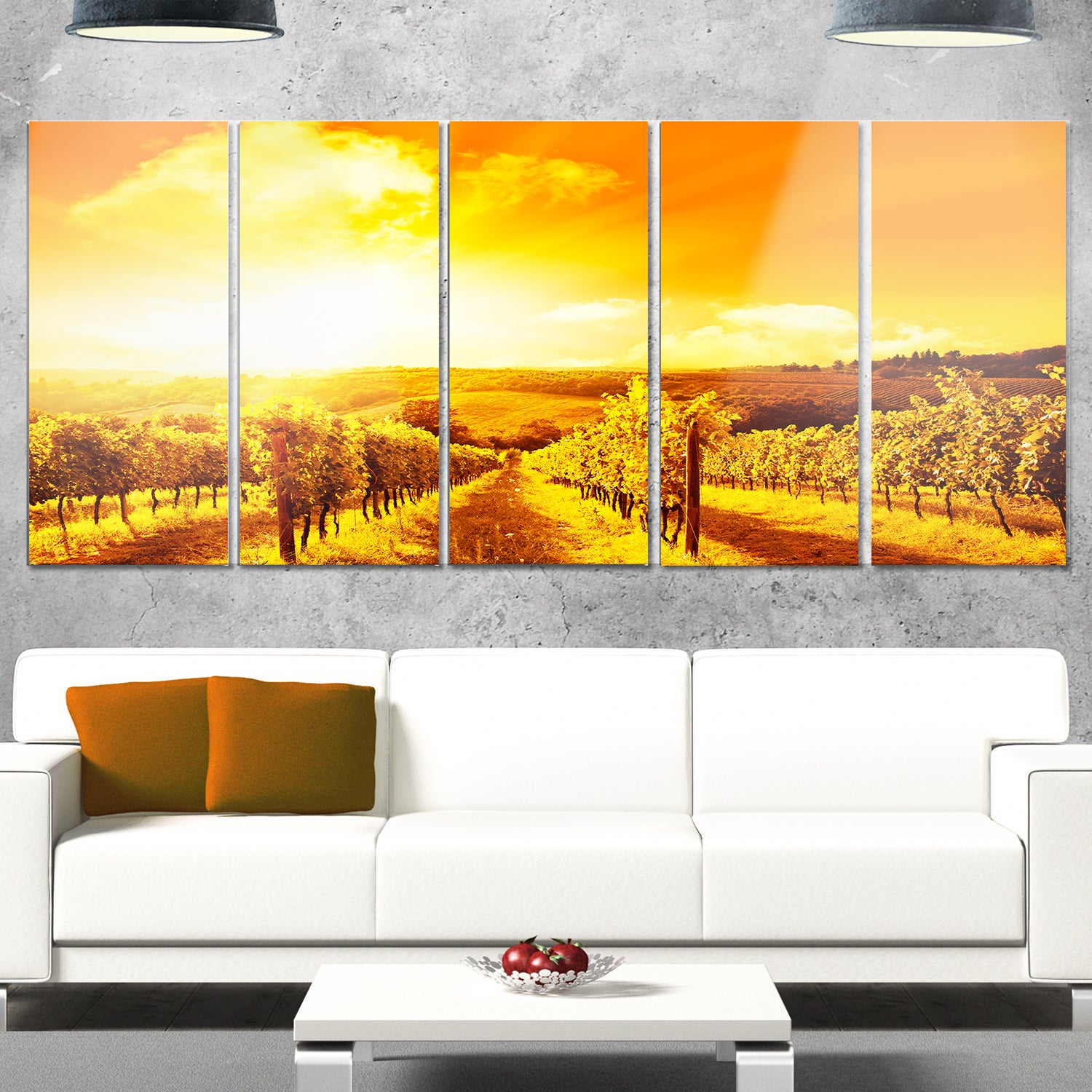 Shop Designart \'Scenic Sunset Road in Italy\' Landscape Metal Wall ...