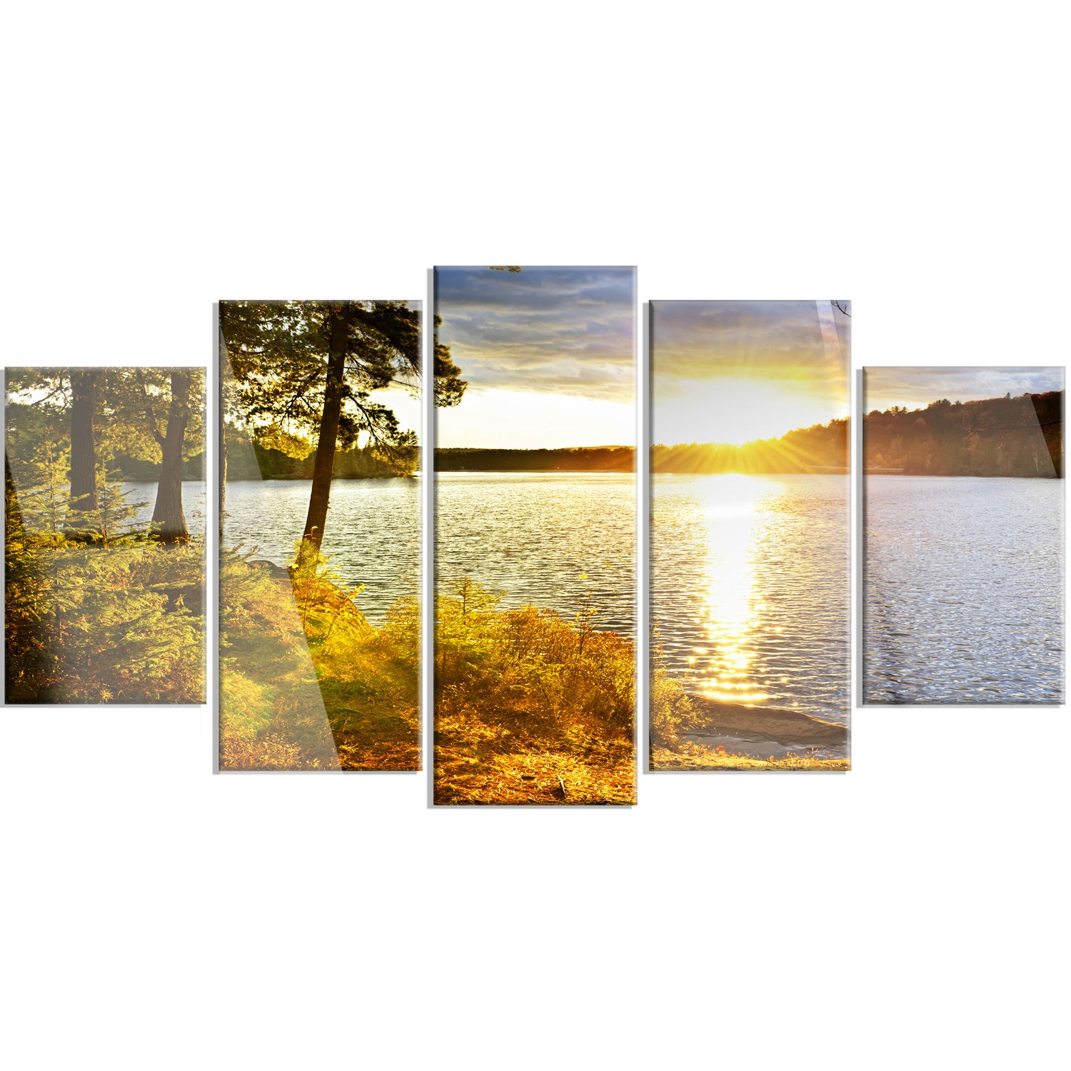 Shop Designart \'Beautiful View of Sunset over Lake\' Landscape Metal ...