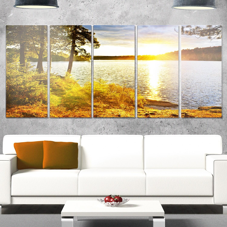 Shop Designart \'Beautiful View of Sunset over Lake\' Landscape Metal ...
