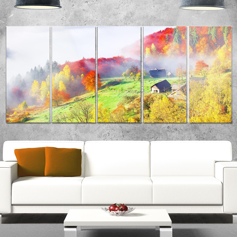 Shop Designart \'Colorful Autumn Landscape in Mountains\' Large ...