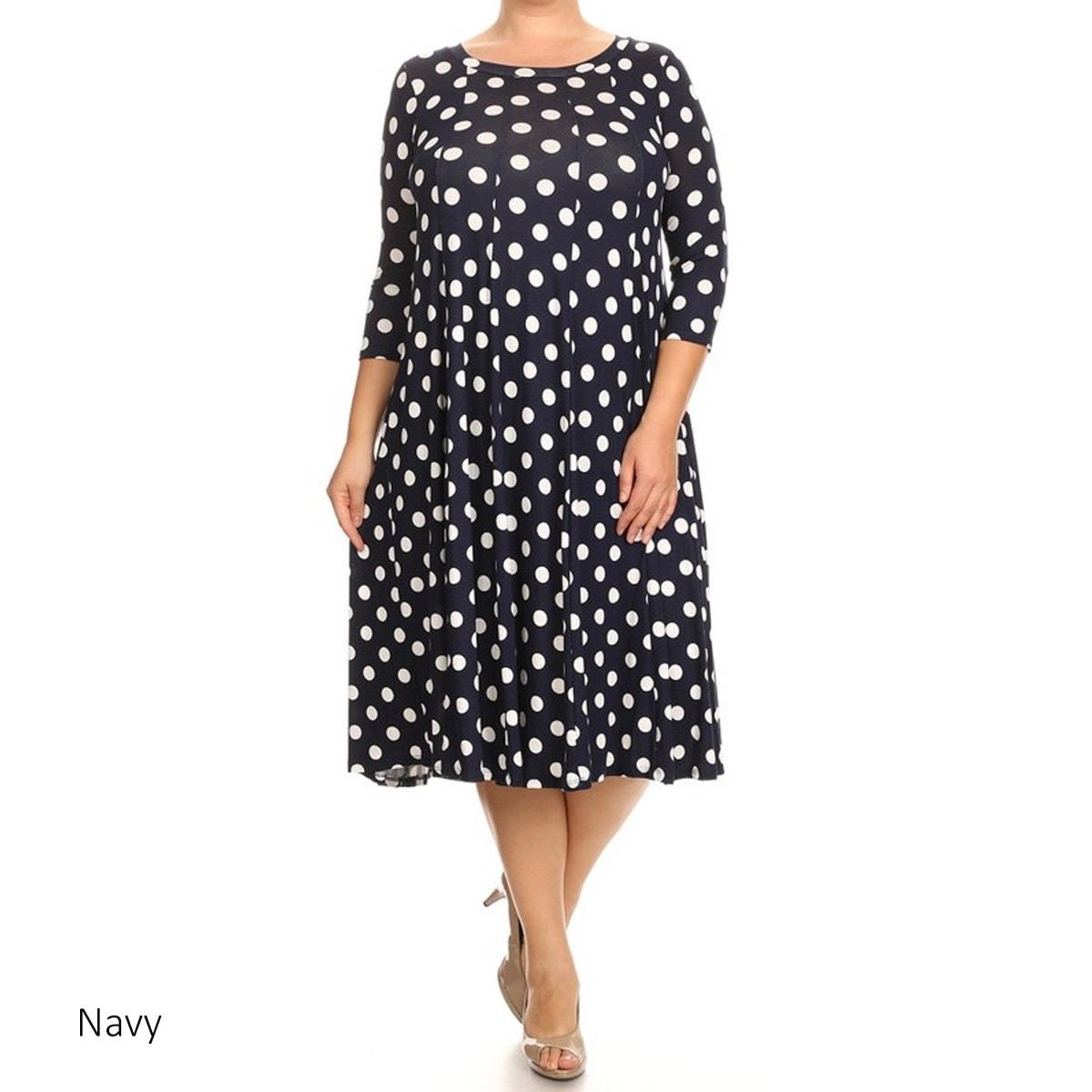 Shop Women\'s Rayon and Spandex Plus-size Polka-dot Dress - On Sale ...