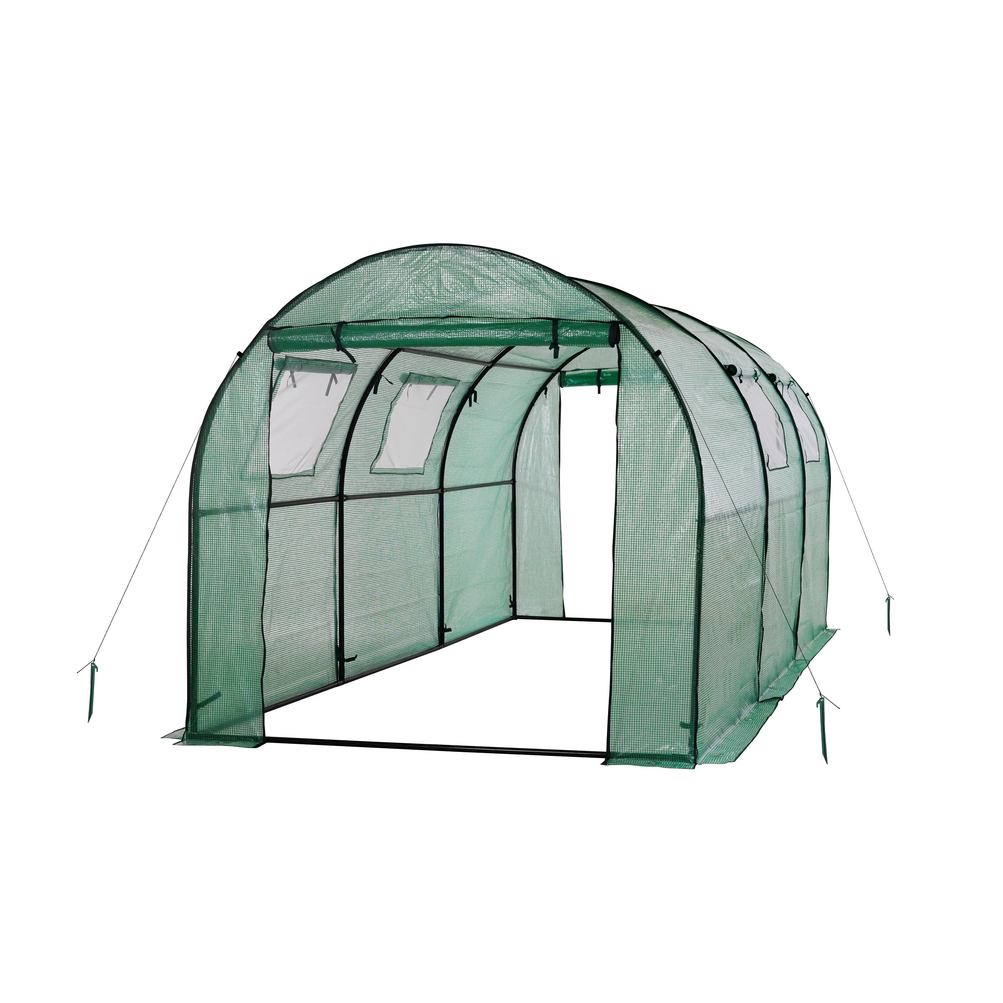Ogrow Two Door Walk-In Tunnel Greenhouse With Ventilation Windows ...