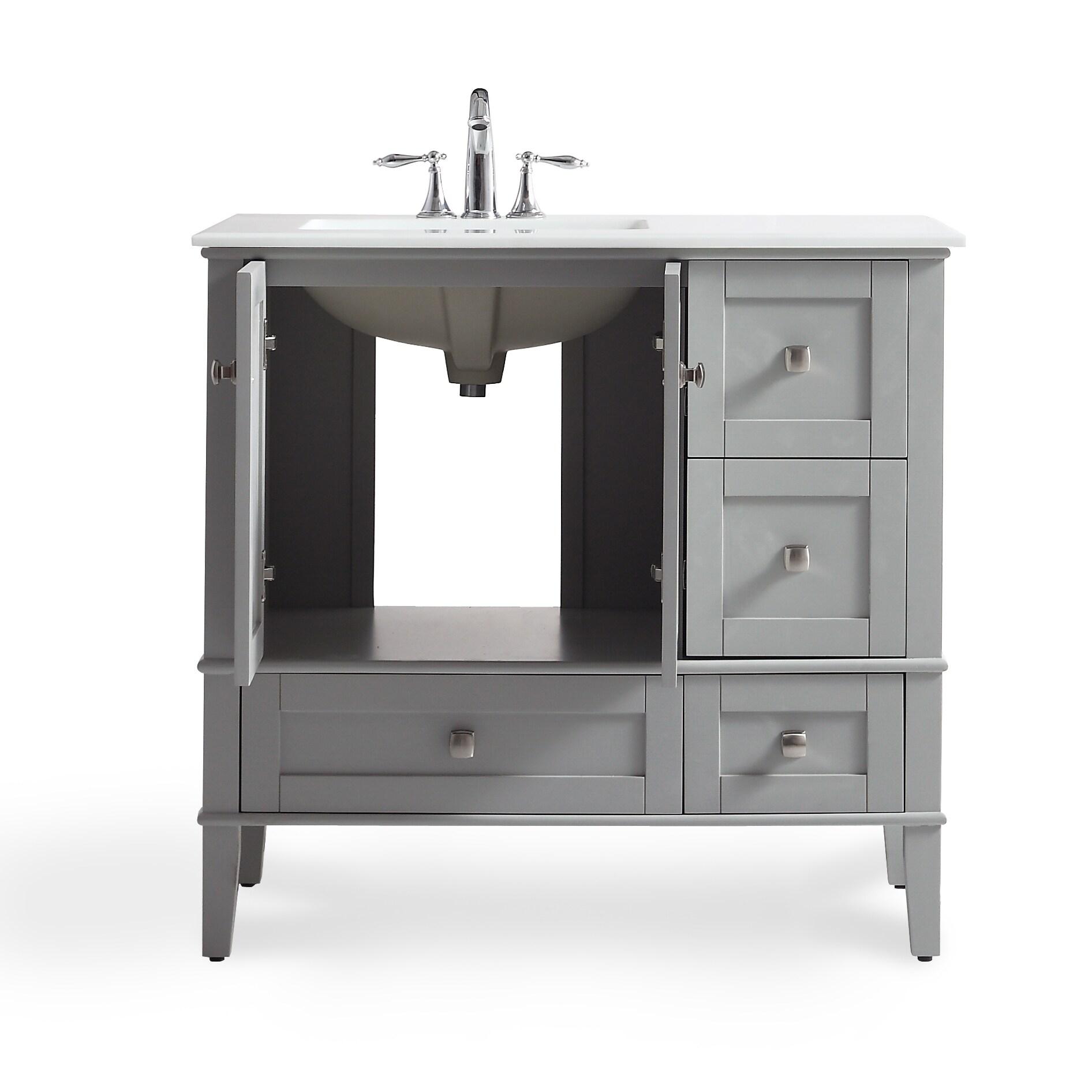 wyndenhall windham grey 36 inch offset bath vanity with white