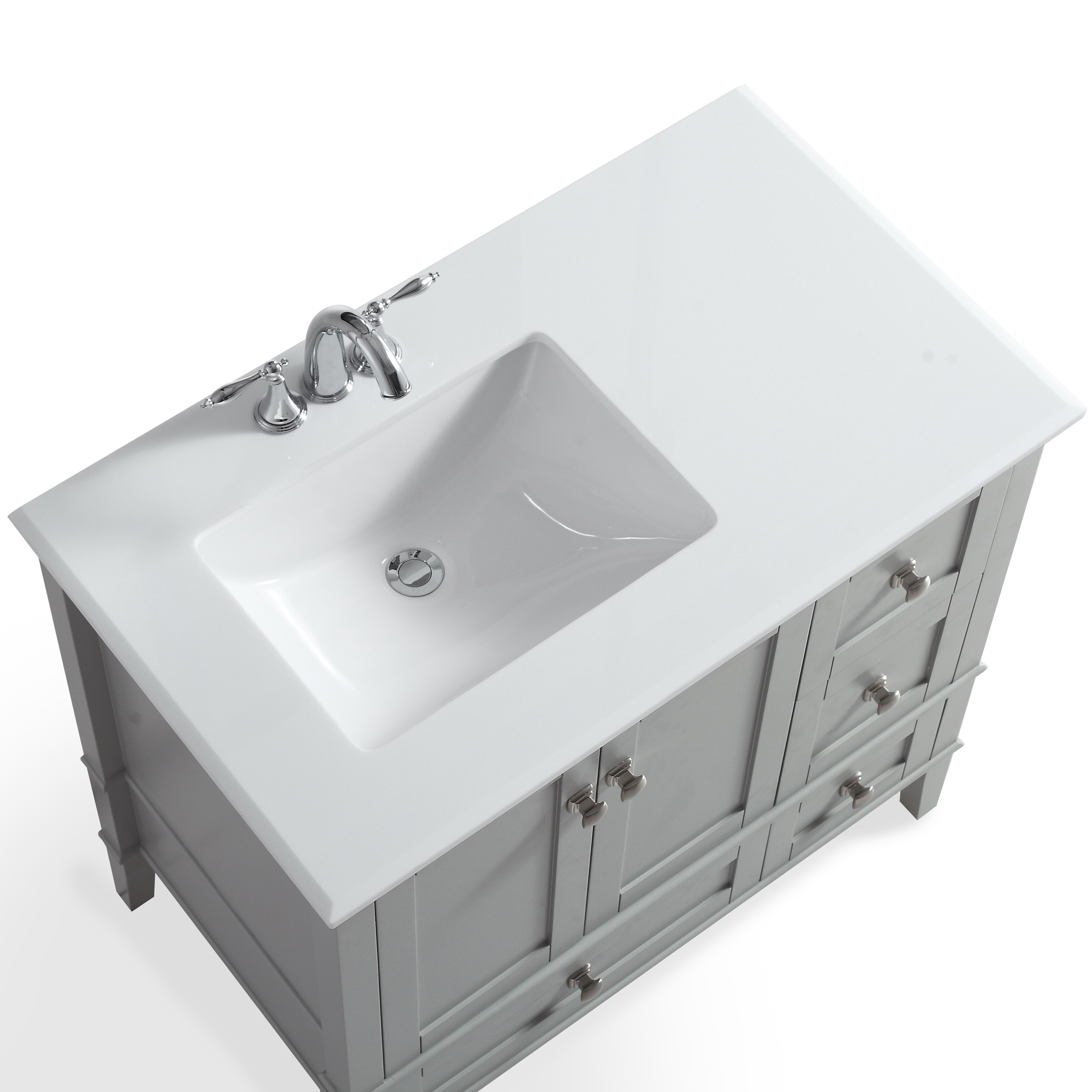 Wyndenhall Windham Grey 36 Inch Offset Bath Vanity With White Quartz Marble Top Free Shipping Today 13983067