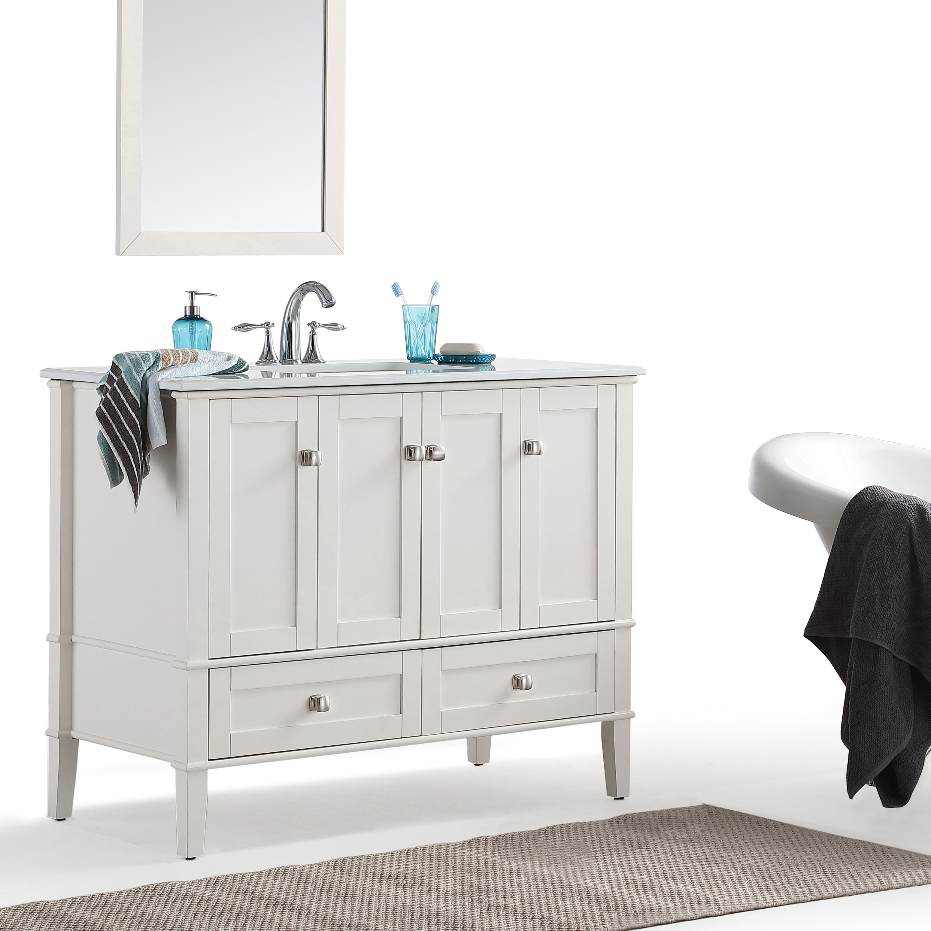 Shop windham 42 inch bath vanity in soft white with white engineered quartz marble top free shipping today overstock com 13983337