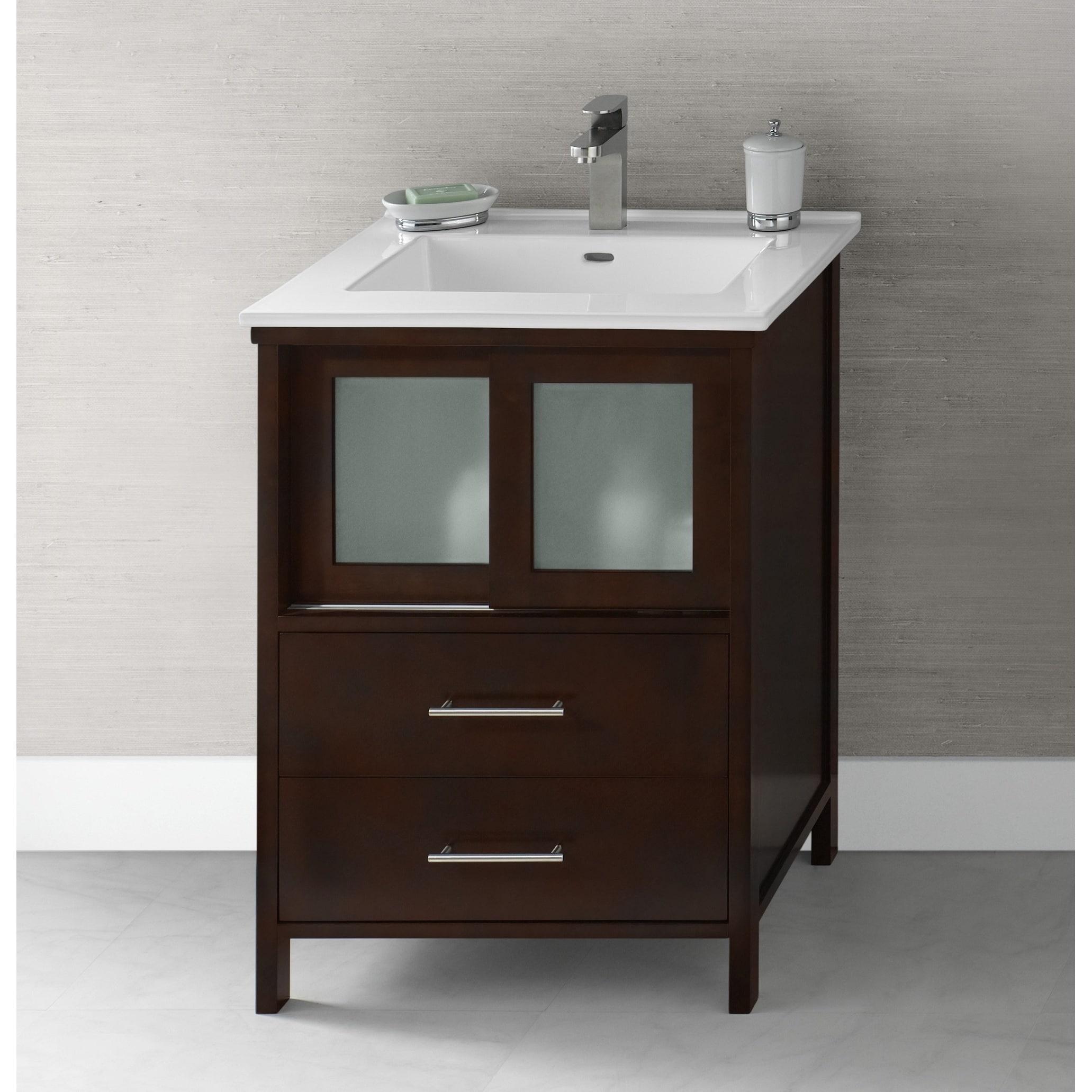 Ronbow Minerva 24 Inch Dark Cherry Bathroom Vanity Set With White Ceramic Sink Top Overstock 13983682