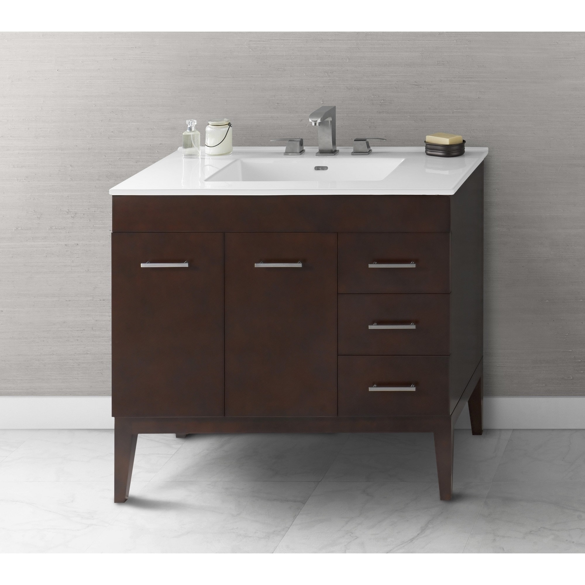 Ronbow Venus 36 Inch Bathroom Vanity Set In Dark Cherry Ceramic Sink Top White Free Shipping Today 13983718