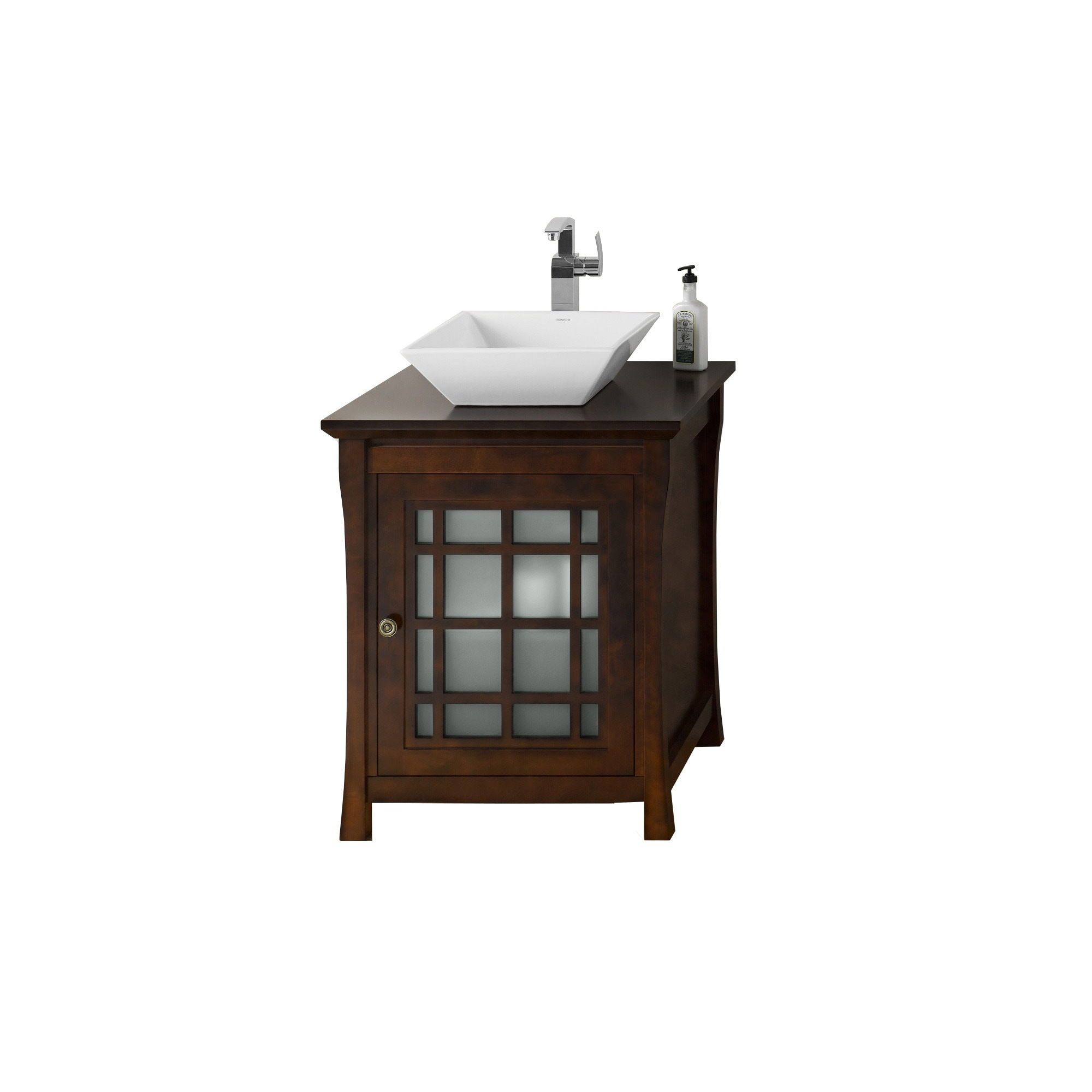 25 inch bathroom vanity. Ronbow Shoji 25-inch Bathroom Vanity Set In Vintage Walnut, Wood Countertop With Square Ceramic Vessel Sink White - Free Shipping Today 25 Inch Y