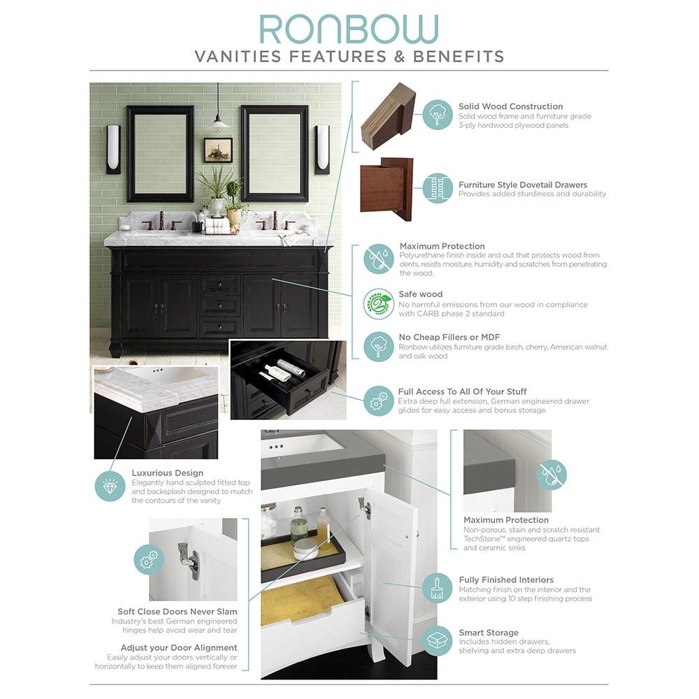 ronbow newcastle 42 inch bathroom vanity set in ocean gray quartz