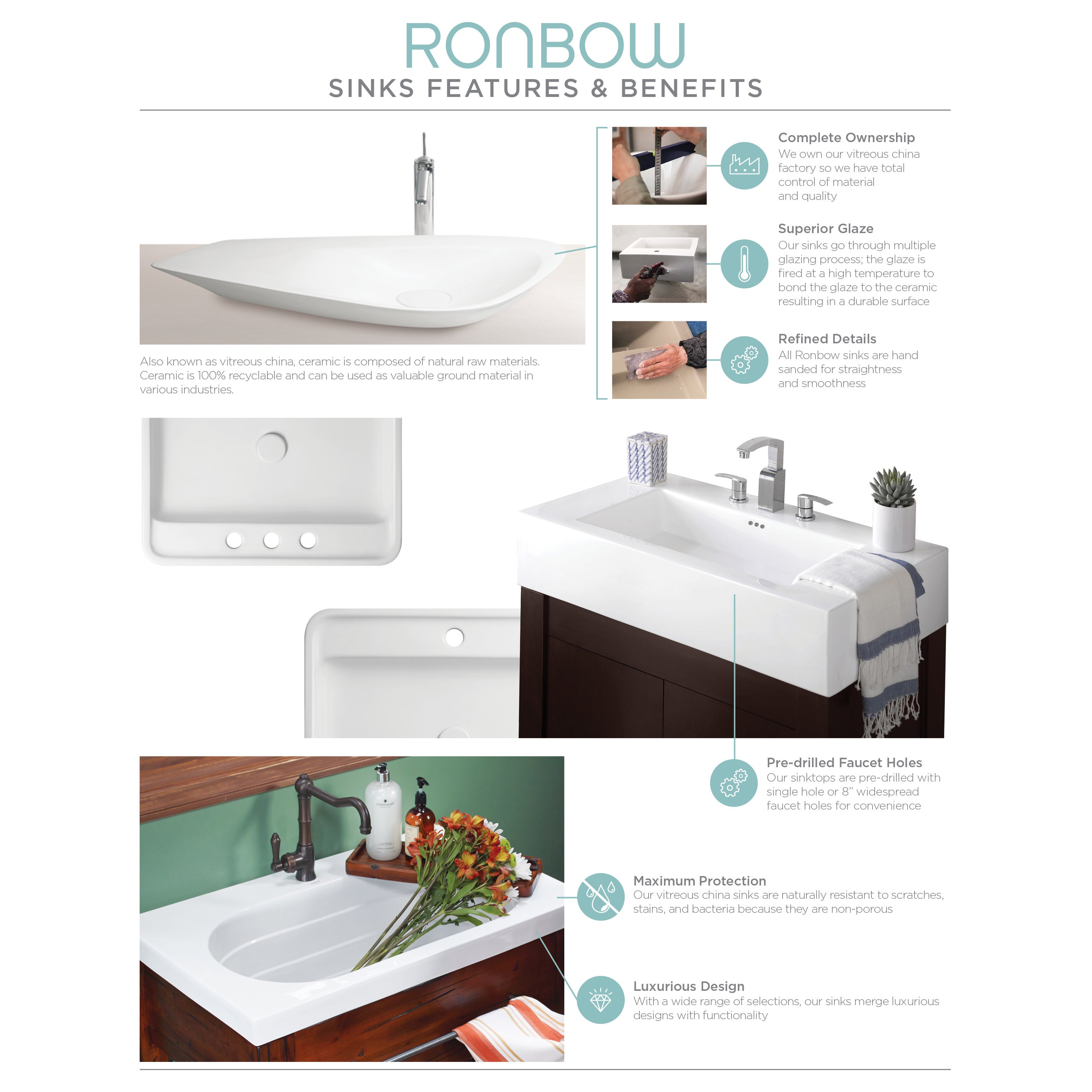 Ronbow Langley 48-inch Bathroom Vanity Set in Cafe Walnut with ...