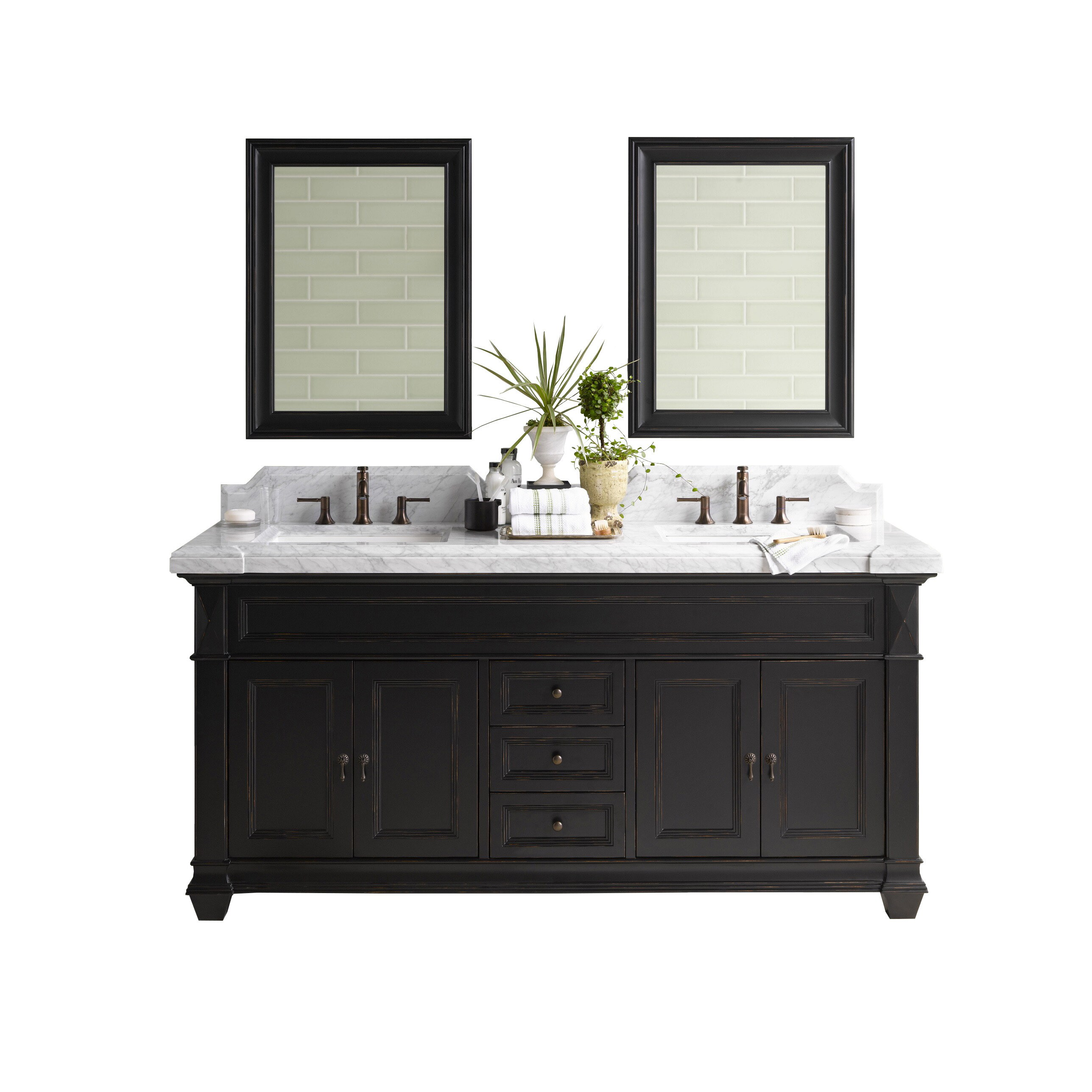 Ronbow Torino 72-inch Bathroom Double Vanity Set in Antique Black ...