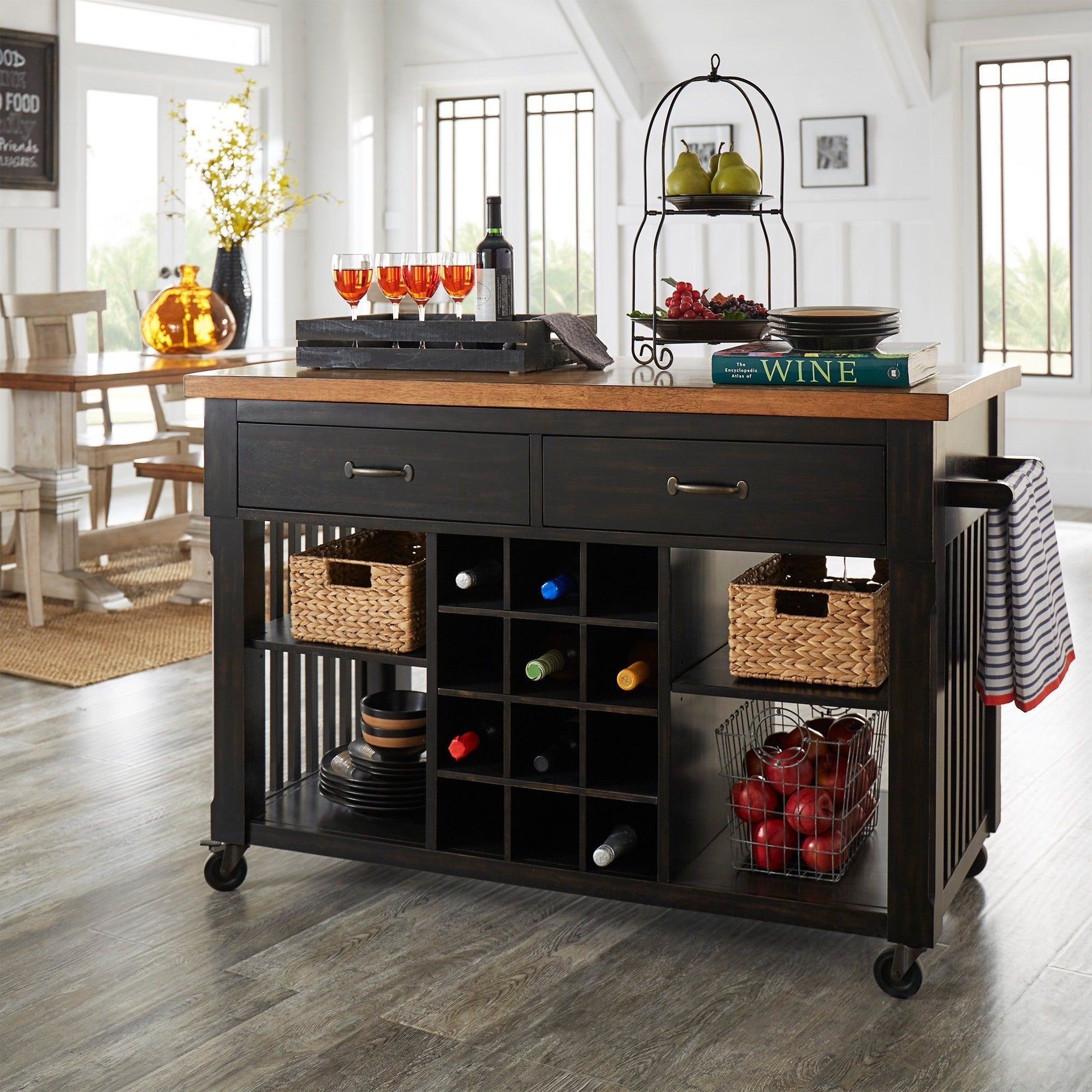 Terrific Eleanor Two Tone Kitchen Island With Wine Rack By Inspire Q Classic Download Free Architecture Designs Itiscsunscenecom