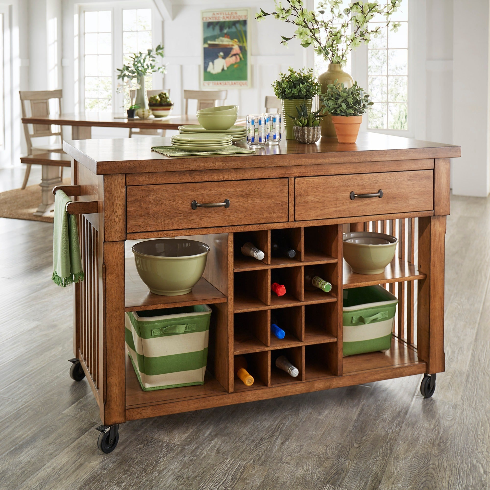 Eleanor Two-Tone Rolling Kitchen Island with Wine Rack by iNSPIRE Q Classic  - Free Shipping Today - Overstock.com - 20610111