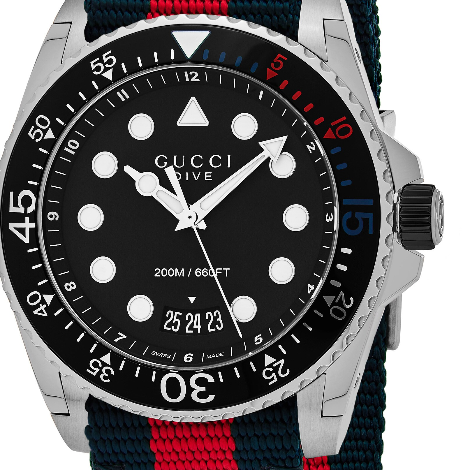 5d23900dfc6 Shop Gucci Men s  Dive  Black Dial Blue Red Nylon Strap Swiss Quartz Watch  - Free Shipping Today - Overstock - 13985817