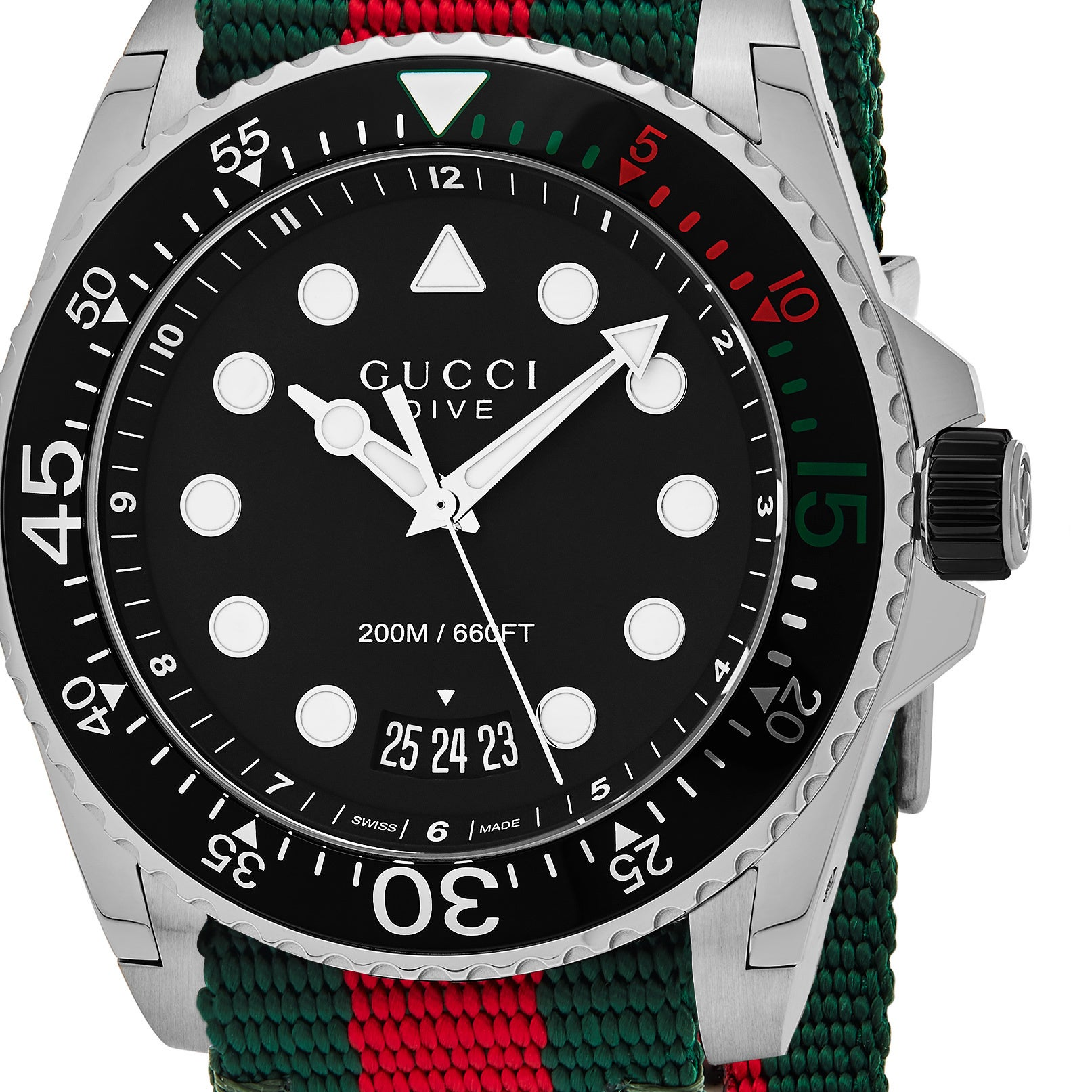 0f3033e21ec Shop Gucci Men s  Dive  Black Dial Green Red Nylon Strap Swiss Quartz Watch  - Free Shipping Today - Overstock - 13985891