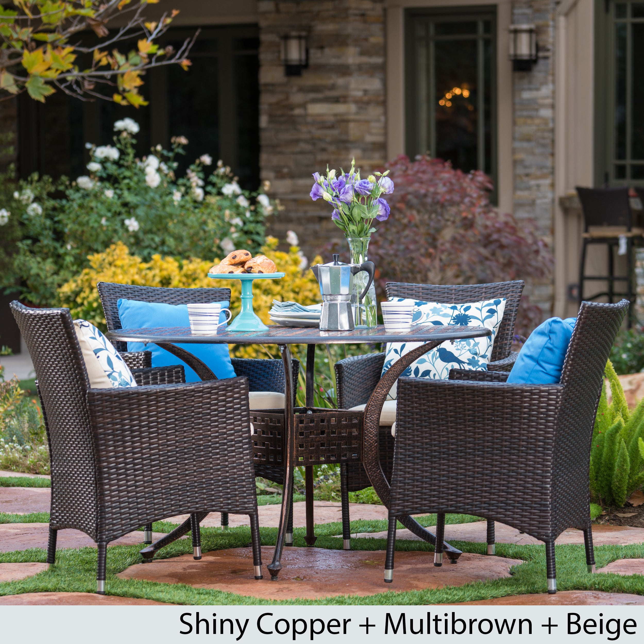 Bon Shop Elk Outdoor 5 Piece Circular Aluminum Dining Set With Cushions By  Christopher Knight Home   Free Shipping Today   Overstock.com   13986904