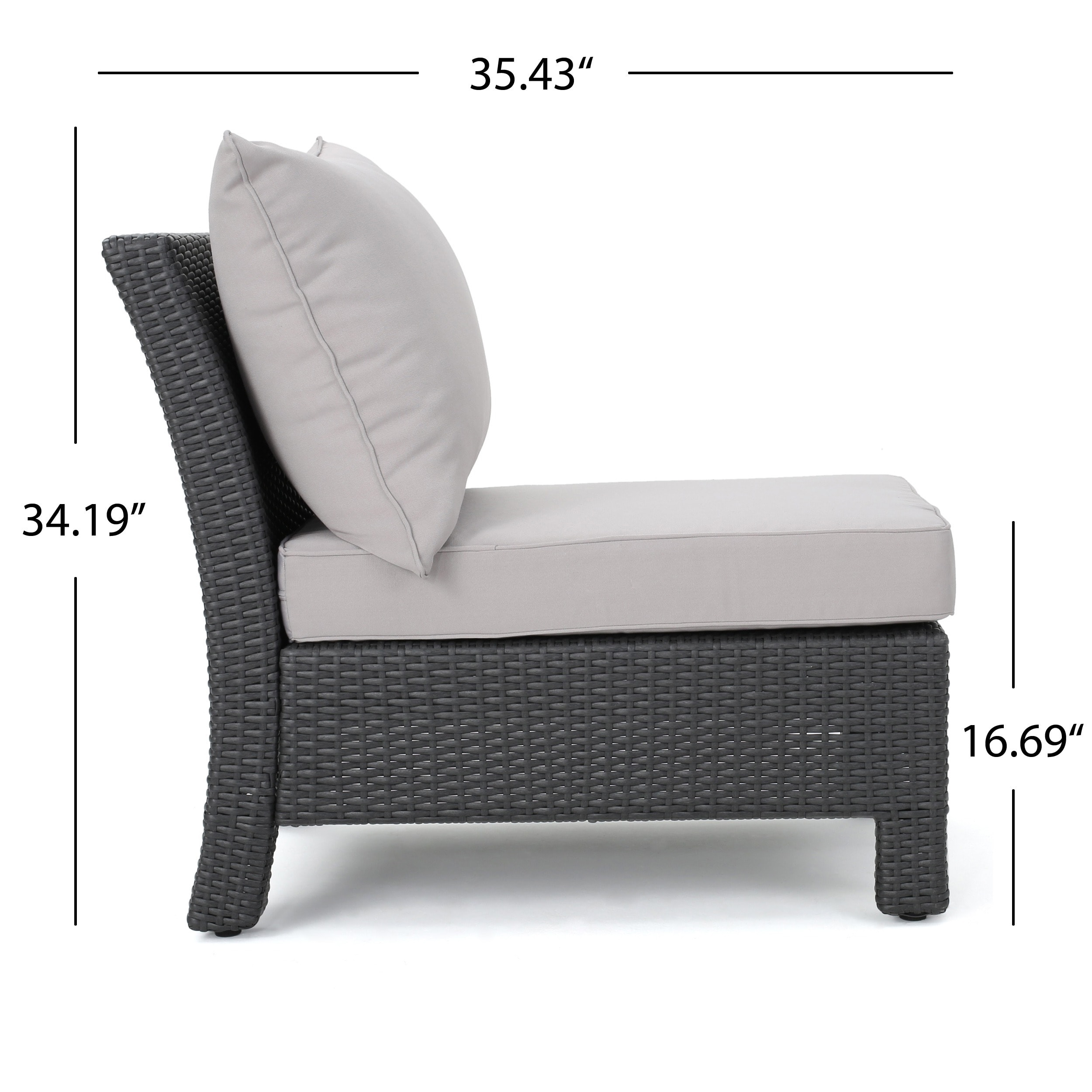 Antibes Outdoor 6-piece V Shaped Sectional Sofa Set with Cushions ...