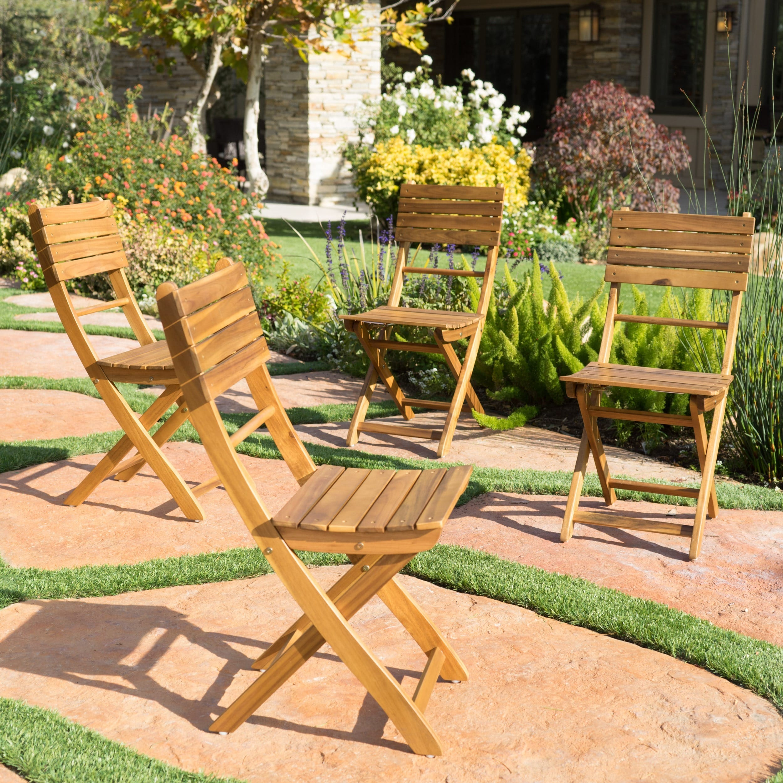 Positano Outdoor Acacia Wood Folding Dining Chair Set of 4 by