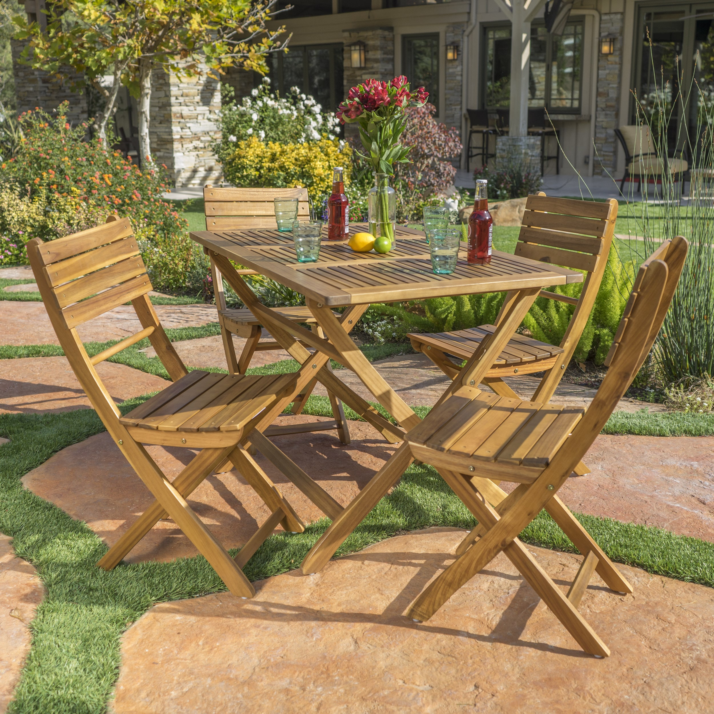 Positano Outdoor Acacia Wood 5 Piece Folding Dining Set By Christopher Knight Home On Free Shipping Today 13987046