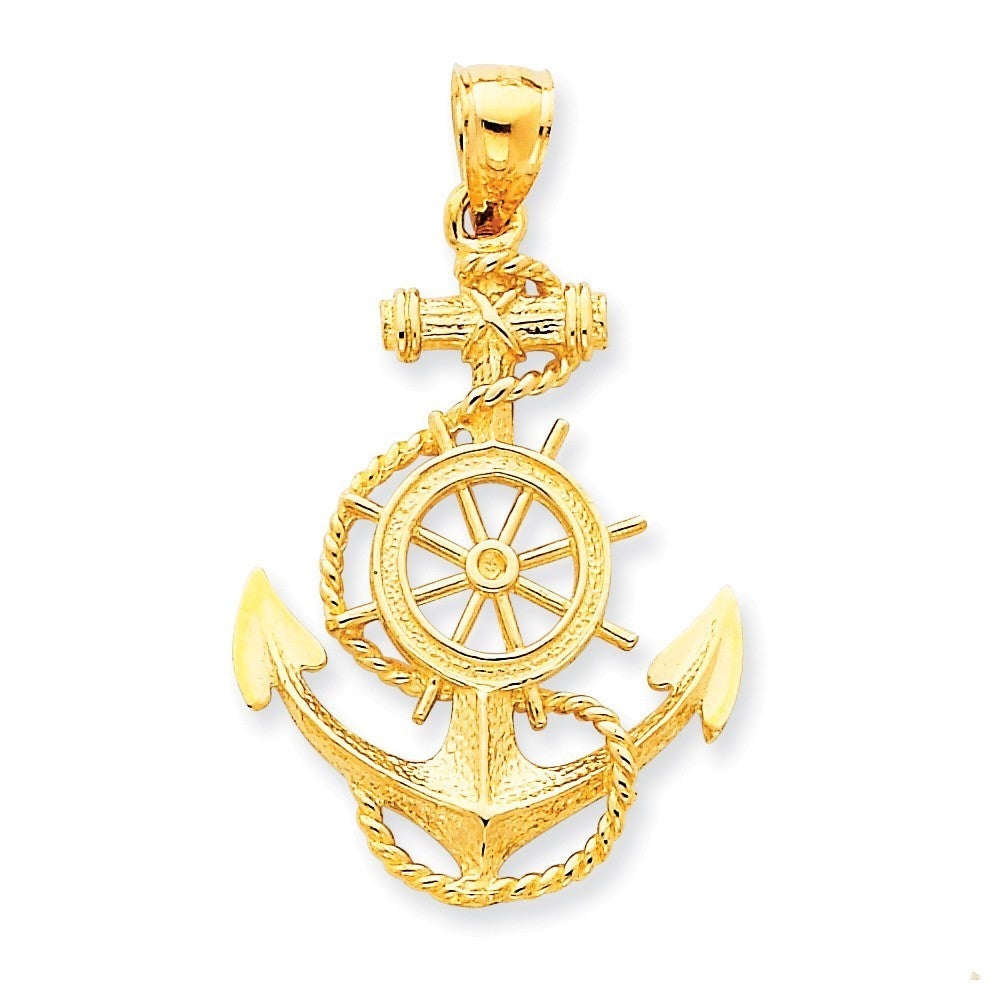 Shop 14k Yellow Gold Large Anchor with Wheel Pendant - Free Shipping ...