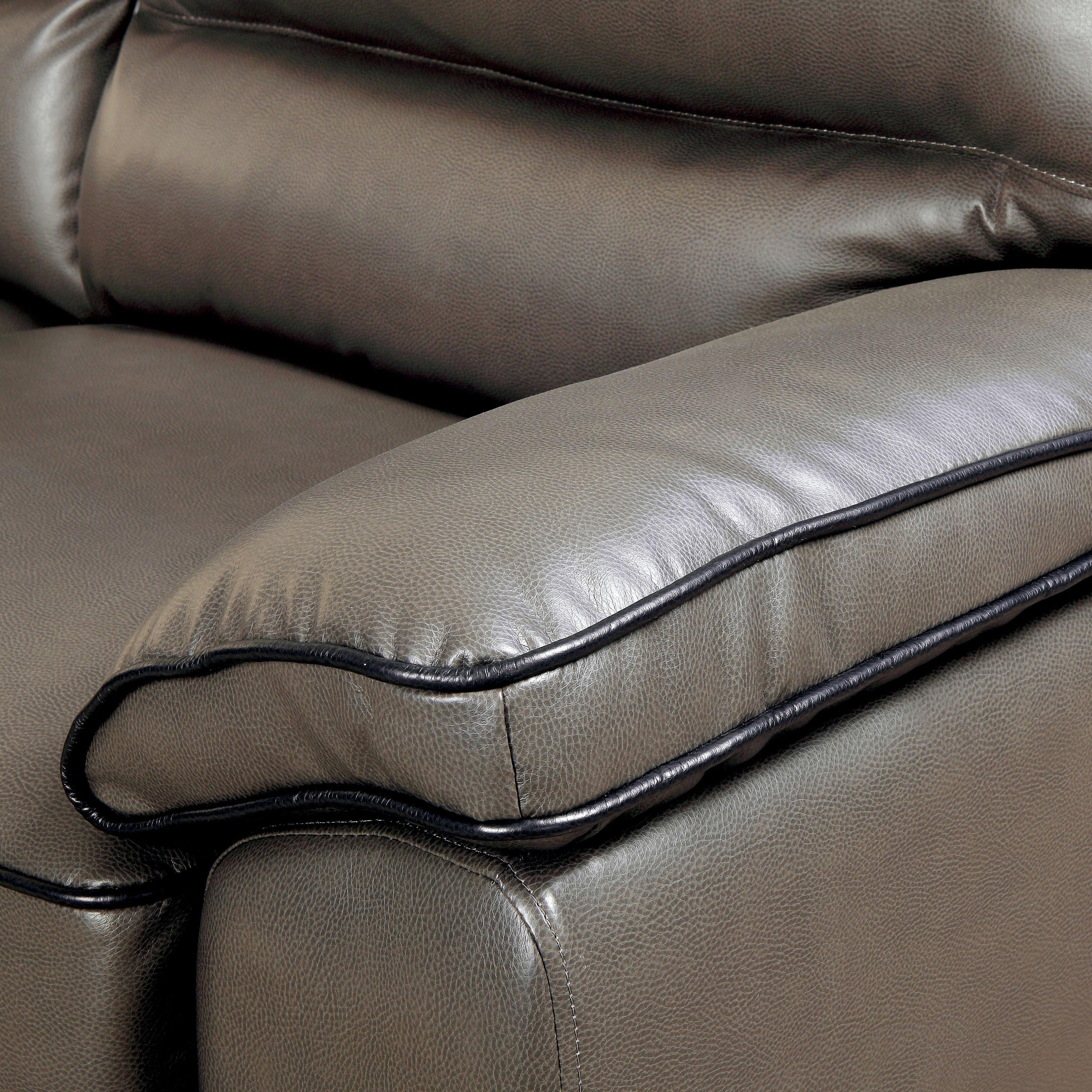 Furniture of America Scottie Contemporary Grey Leatherette Living