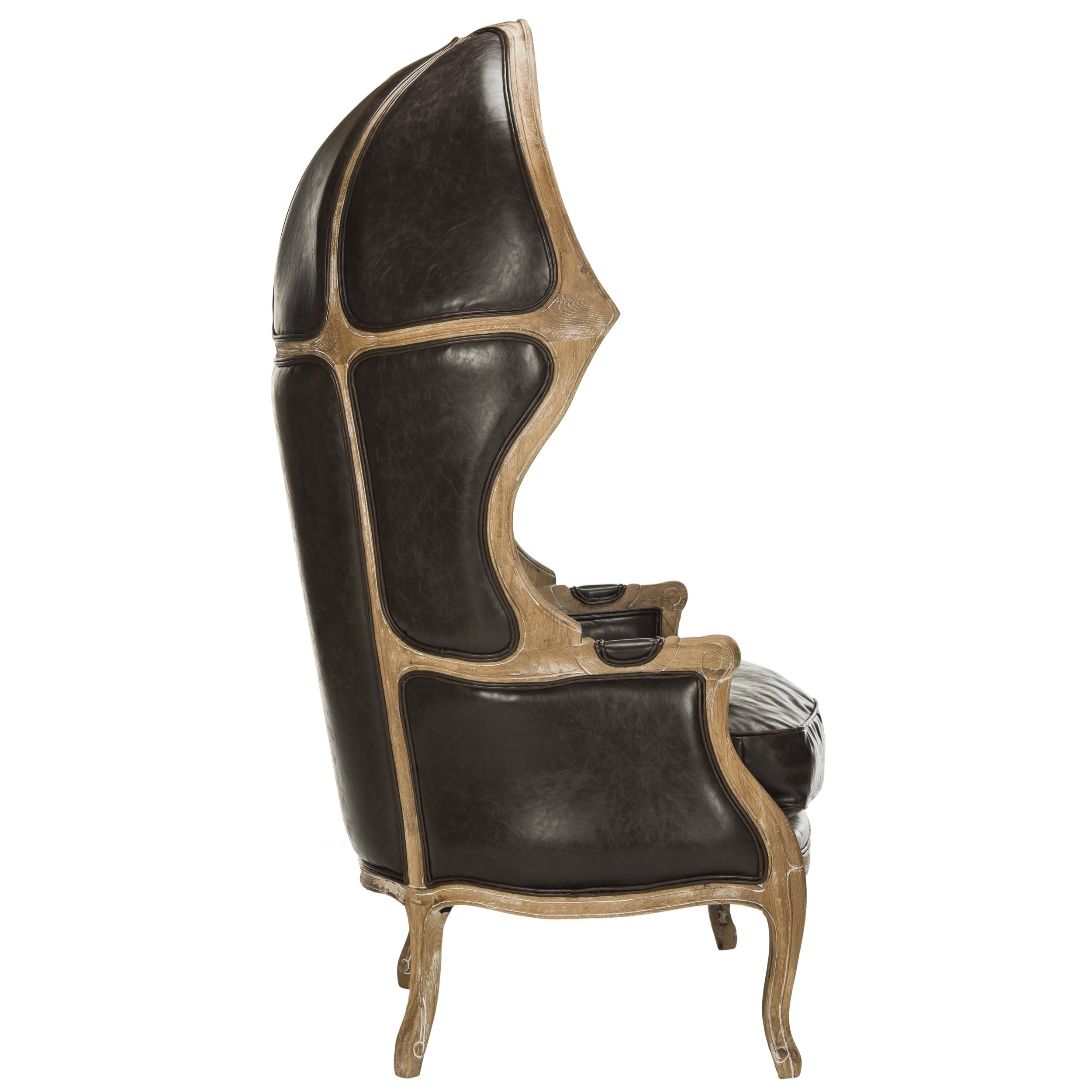 Shop Safavieh Couture High Line Collection Sabine Brown Leather Victorian  Balloon Chair   On Sale   Free Shipping Today   Overstock.com   13996724
