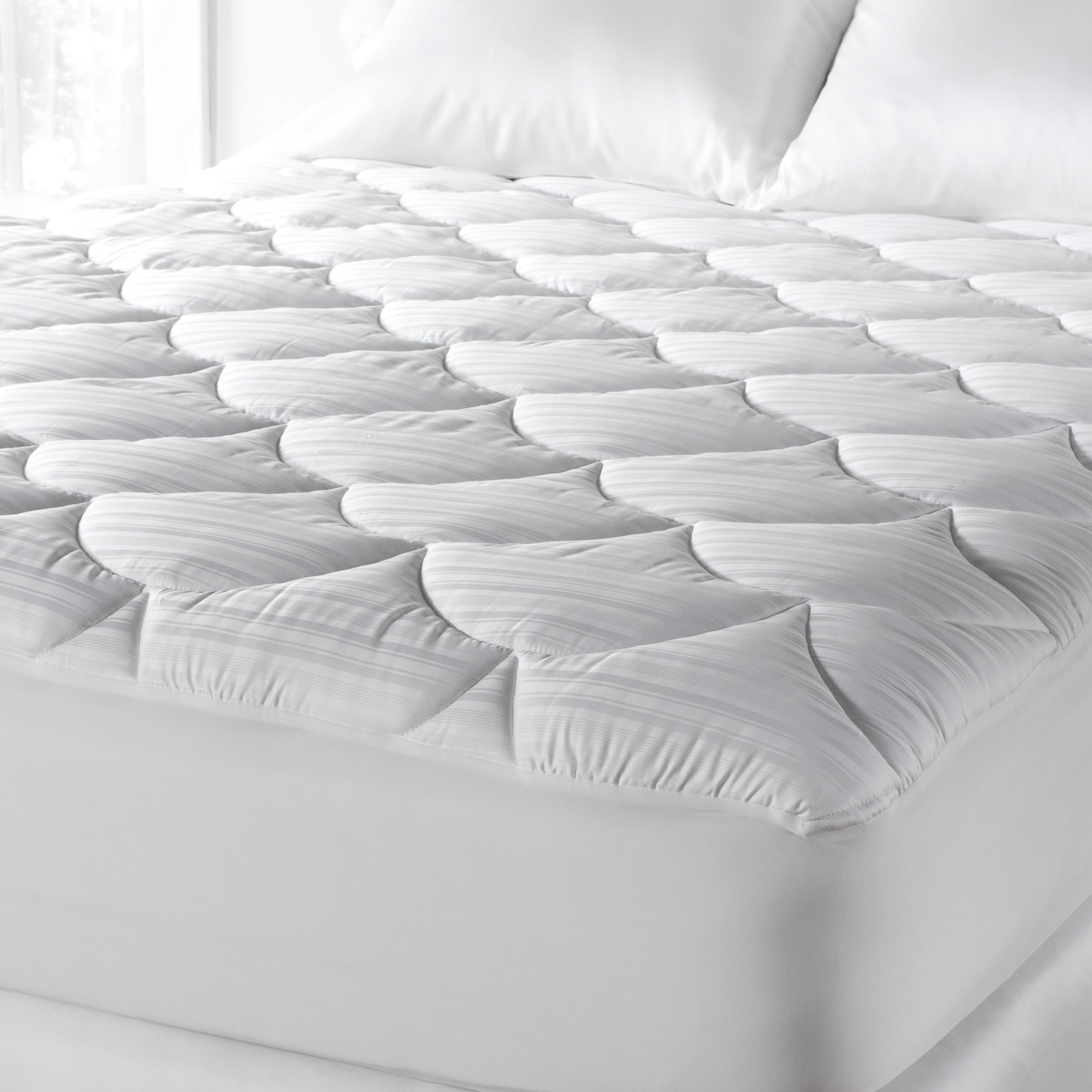 Mattress Cover.Primaloft 600 Thread Count Extra Plush Hypoallergenic Mattress Pad White