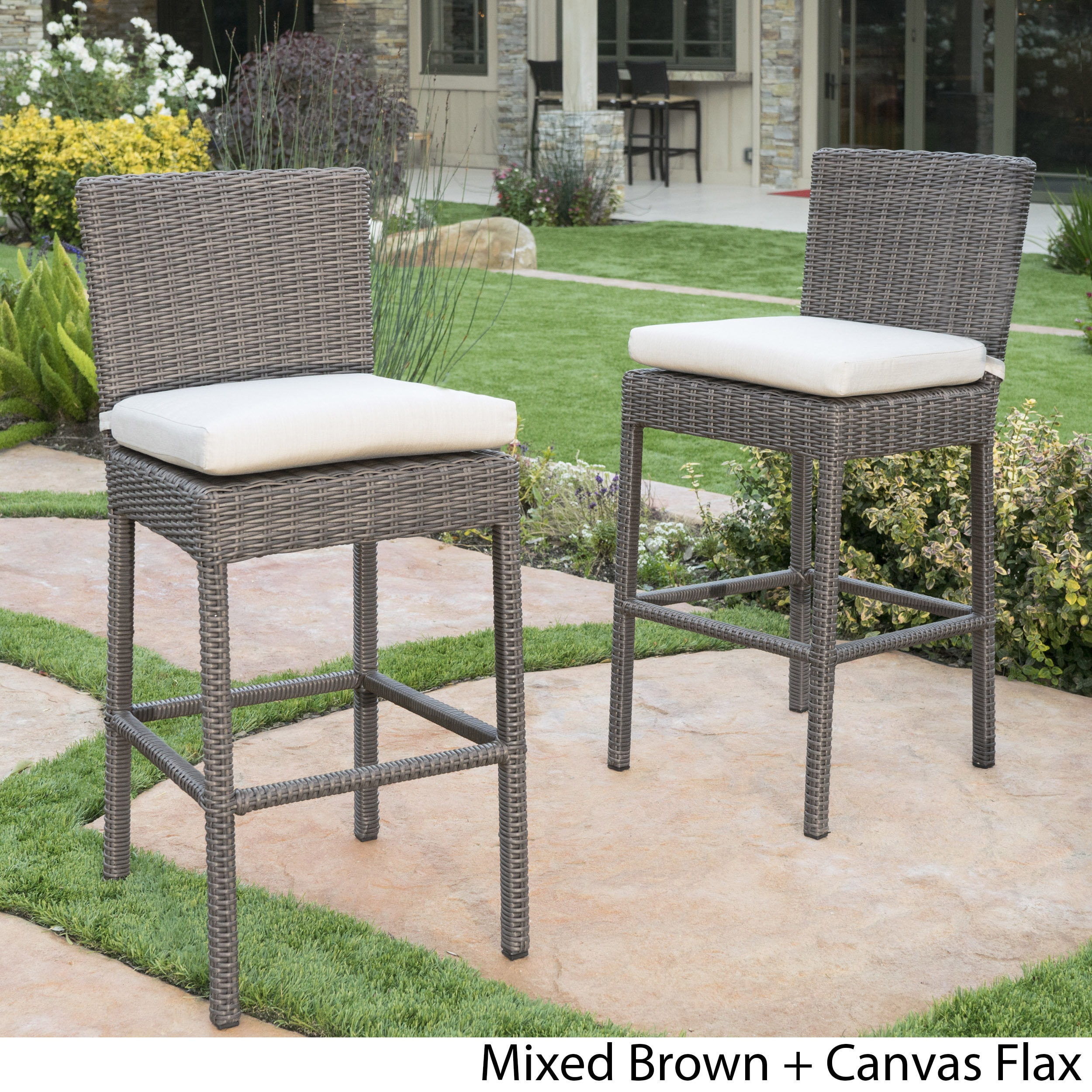 Shop Barcelona Outdoor Counter Stools with Sunbrella Cushion Set of
