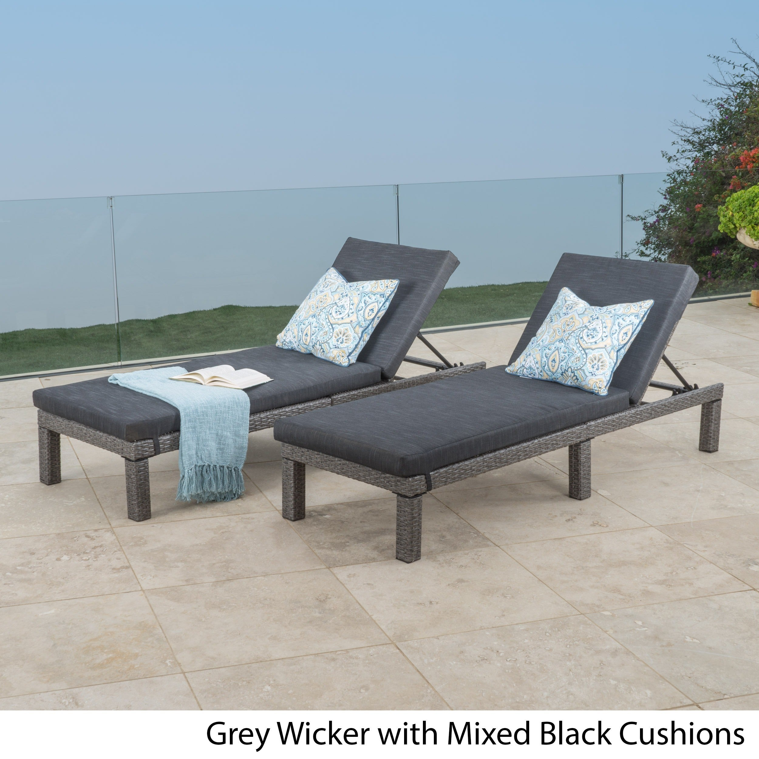 Puerta Outdoor Adjustable PE Wicker Chaise Lounge With Cushion By Christopher  Knight Home (Set Of 2)   Free Shipping Today   Overstock.com   20621097