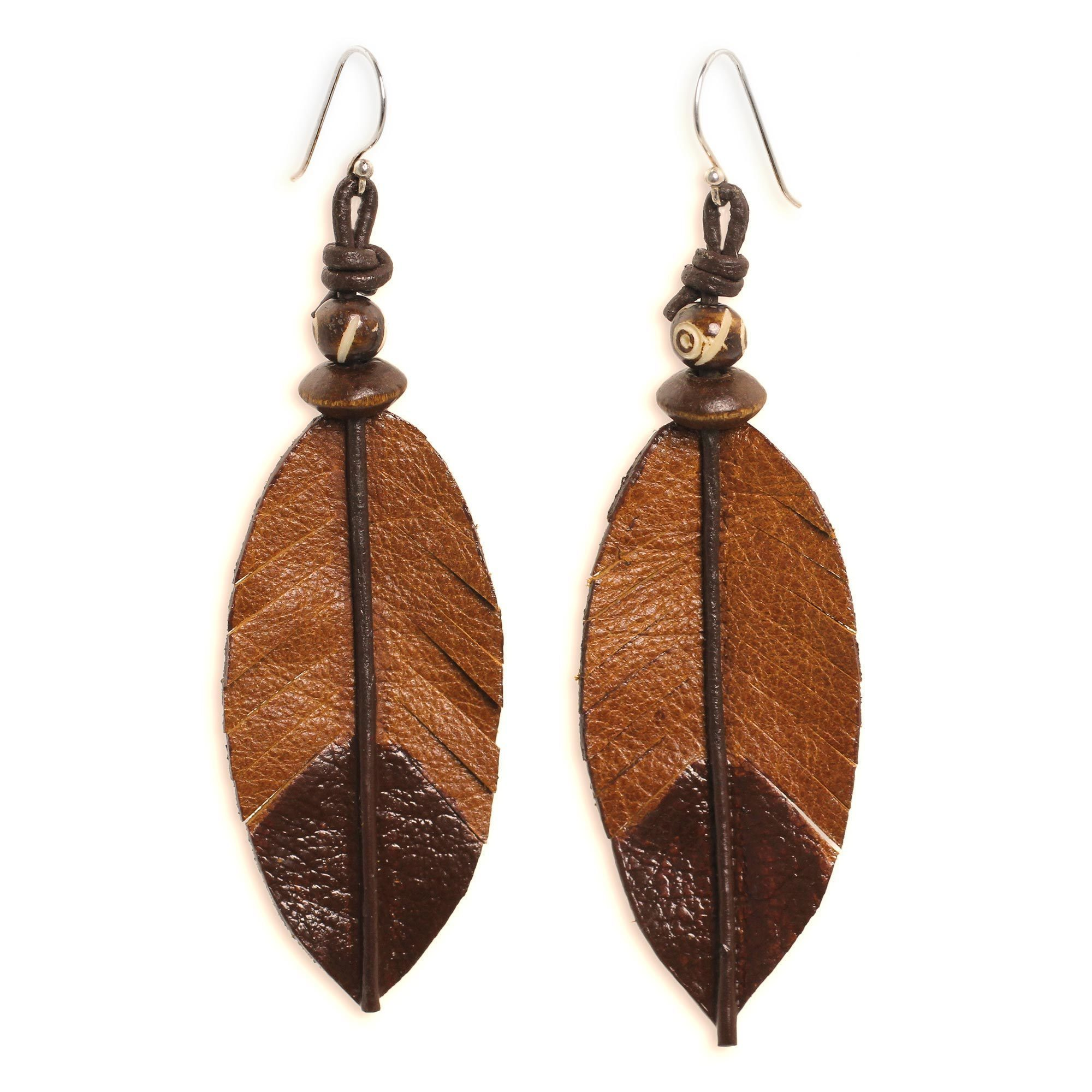 Handmade Leather Bone Indian Feather Earrings Thailand Brown On Free Shipping Orders Over 45 13998556