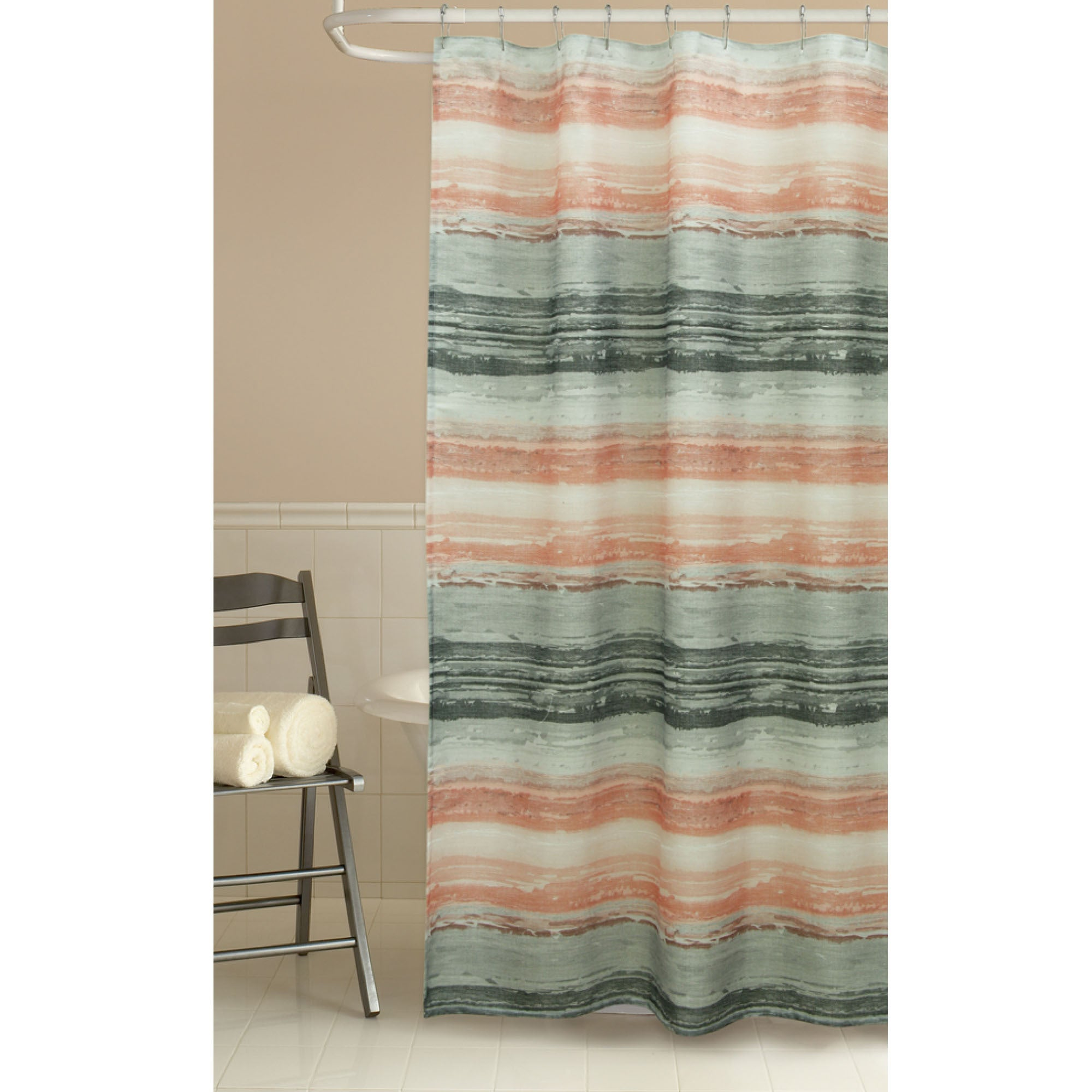 Shop Portico Coral Fabric Shower Curtain