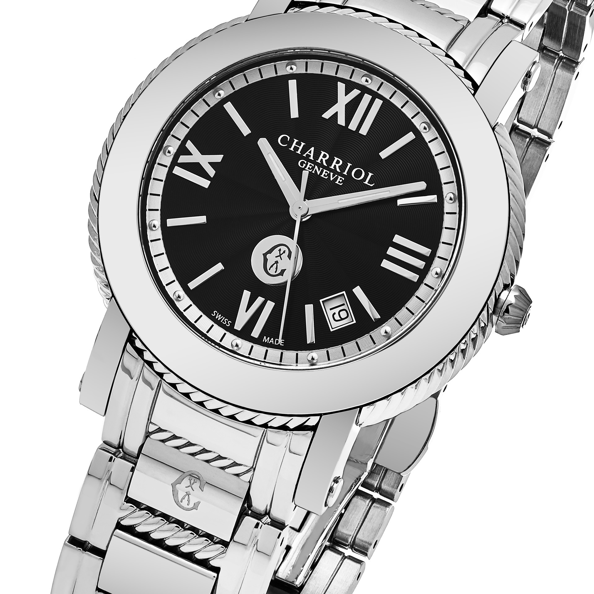 37a9884a7ec Shop Charriol Men s  Parisi  Black Dial Stainless Steel Swiss Quartz Watch  - Free Shipping Today - Overstock - 14002017