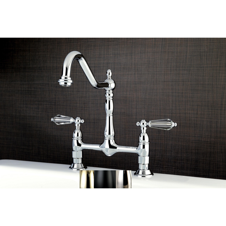 Shop Victorian High Spout Bridge Crystal-Handles Kitchen Faucet ...