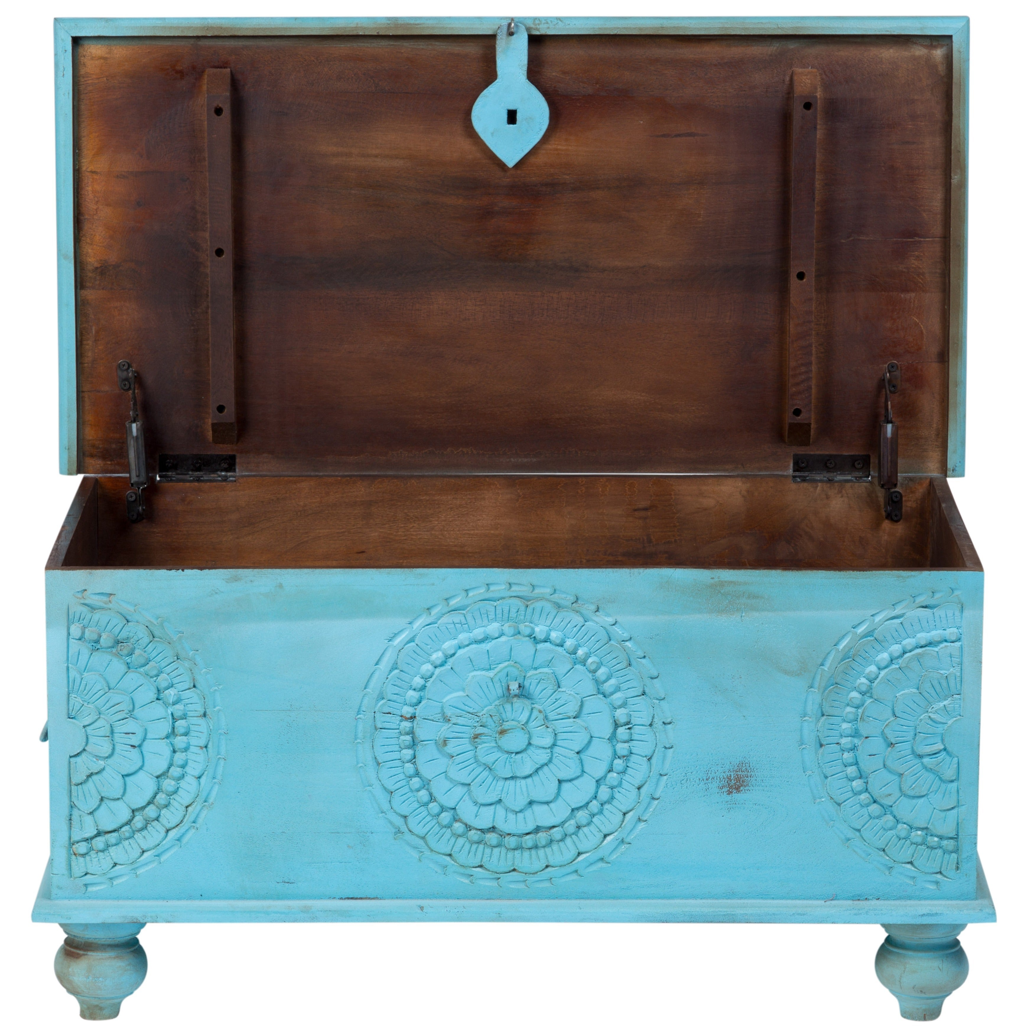 Shop Handmade Wanderloot Leela Distressed Blue Medallion Coffee Table Trunk  (India)   Free Shipping Today   Overstock.com   14004613