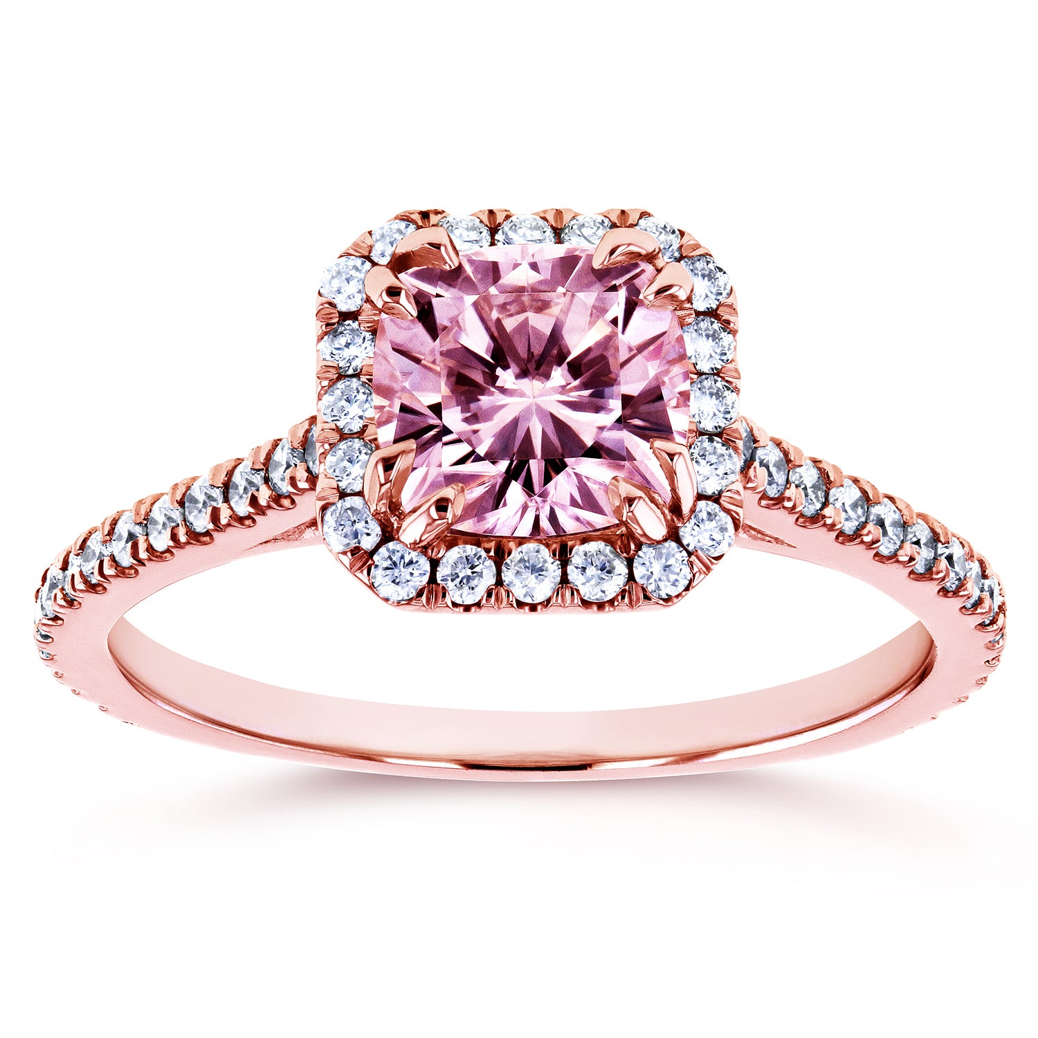 Annello by Kobelli 14k Rose Gold 1 2/5ct TGW Pink Moissanite and ...