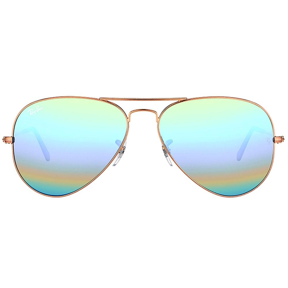 0ddfa691ed6c5 Shop Ray-Ban RB 3025 9018C3 Classic Bronze Copper Metal Aviator Sunglasses  Green Rainbow Flash Mirror Lens - Free Shipping Today - Overstock.com -  14005599