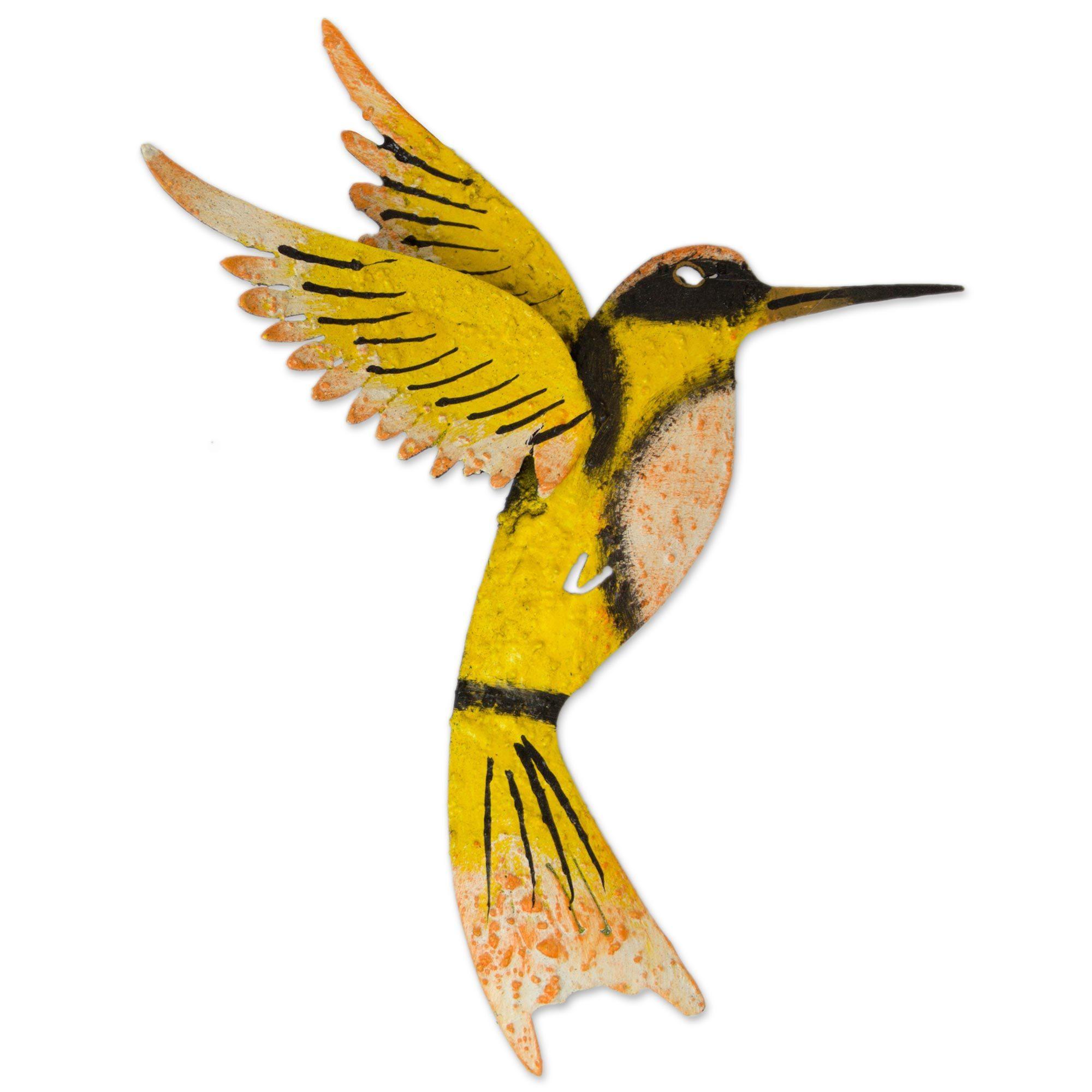 Shop Handmade Iron \'Little Yellow Hummingbird\' Wall Sculpture ...