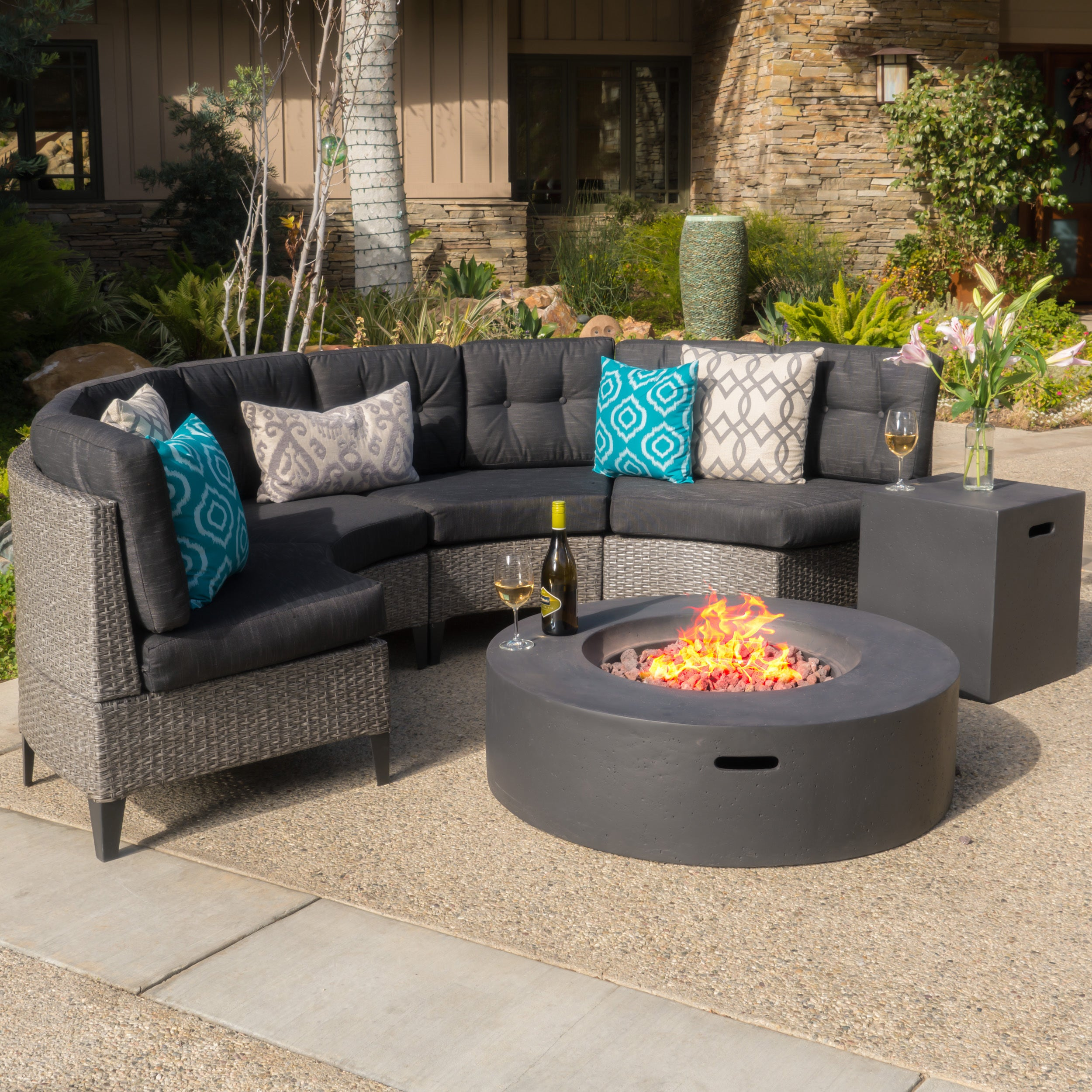 Navagio Outdoor 6 Piece Wicker Half Round Sofa Set With Fire Table By Christopher Knight Home