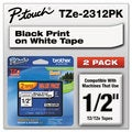 Brother P-Touch TZe Standard Adhesive Laminated Labeling Tapes 1/2w Black on White 2/Pack