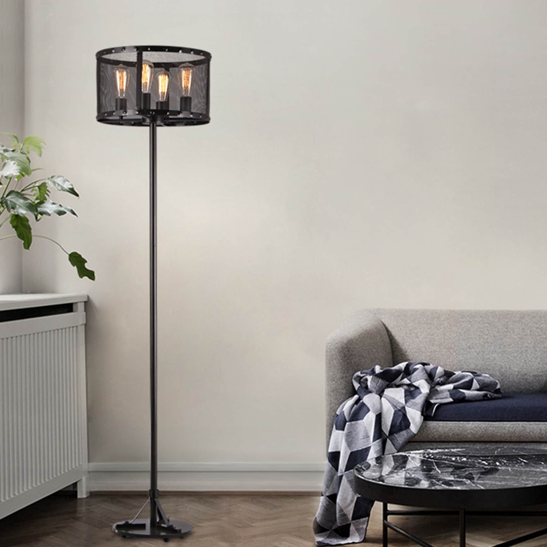 Corgin Black Mesh Round Floor Lamp With Edison Bulbs