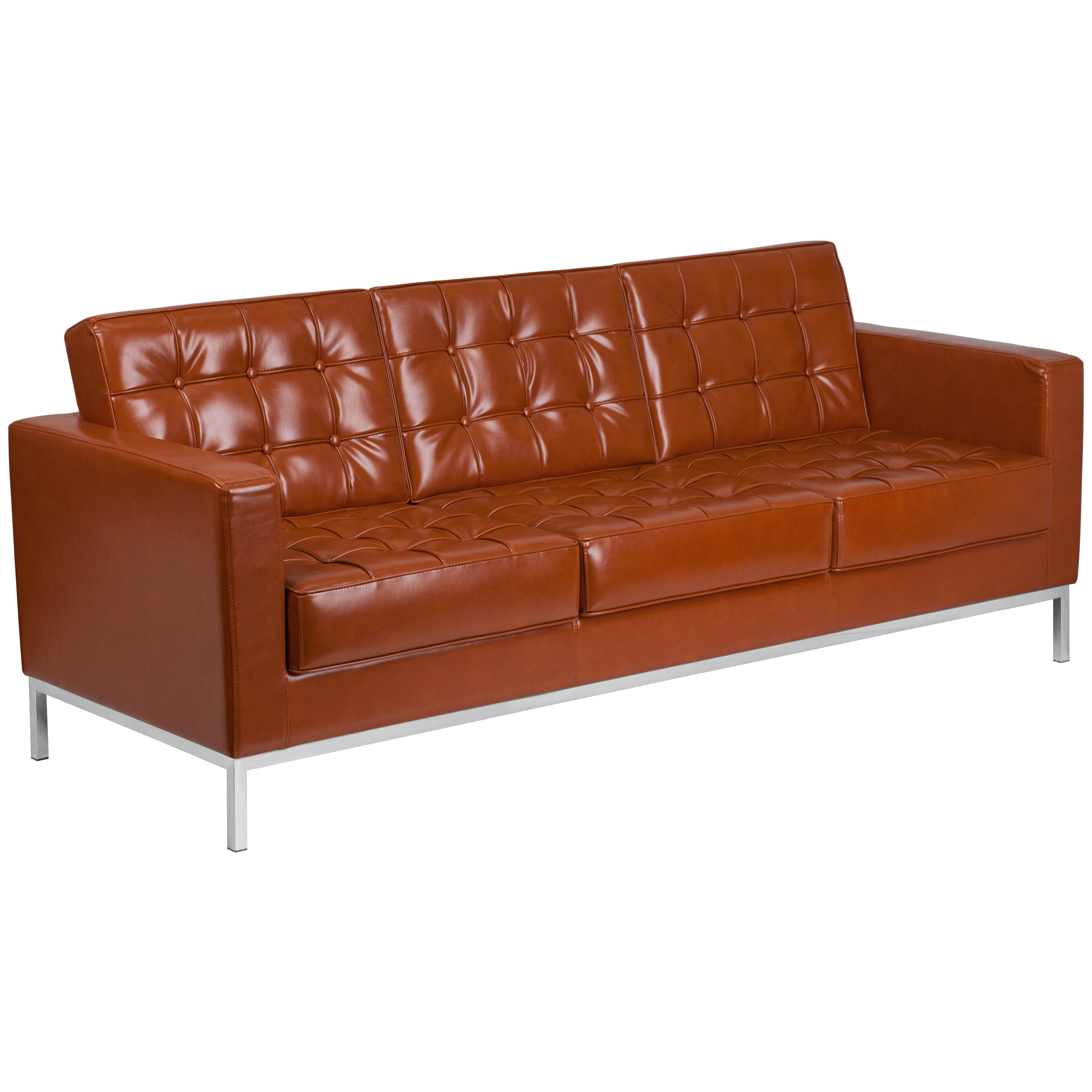 Strick & Bolton Wolcott Contemporary Faux Leather Sofa with Stainless Steel  Frame
