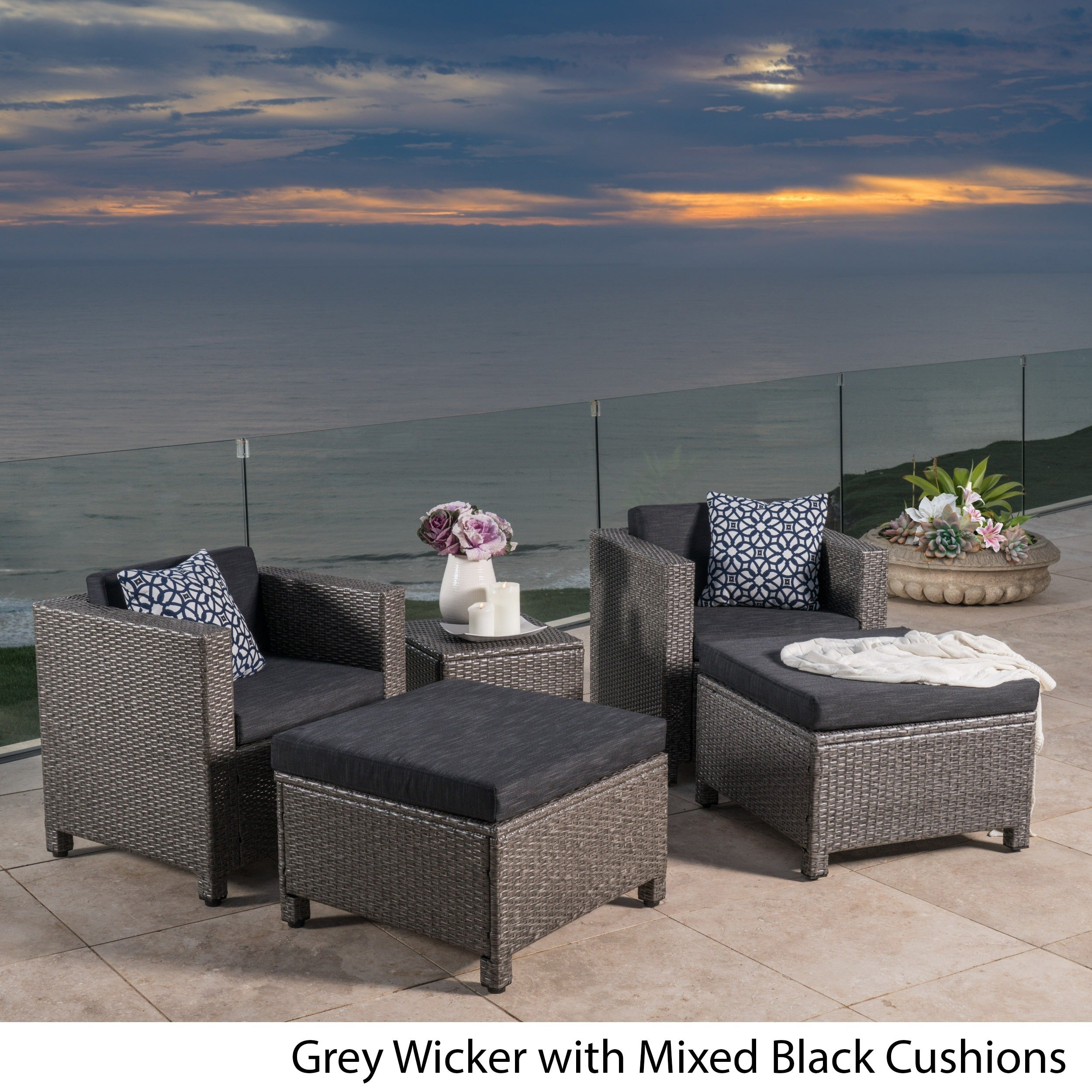 Puerta 5 Piece Outdoor Wicker Chat Set With Water Resistant Cushions By Christopher Knight Home Free Shipping Today 20634175