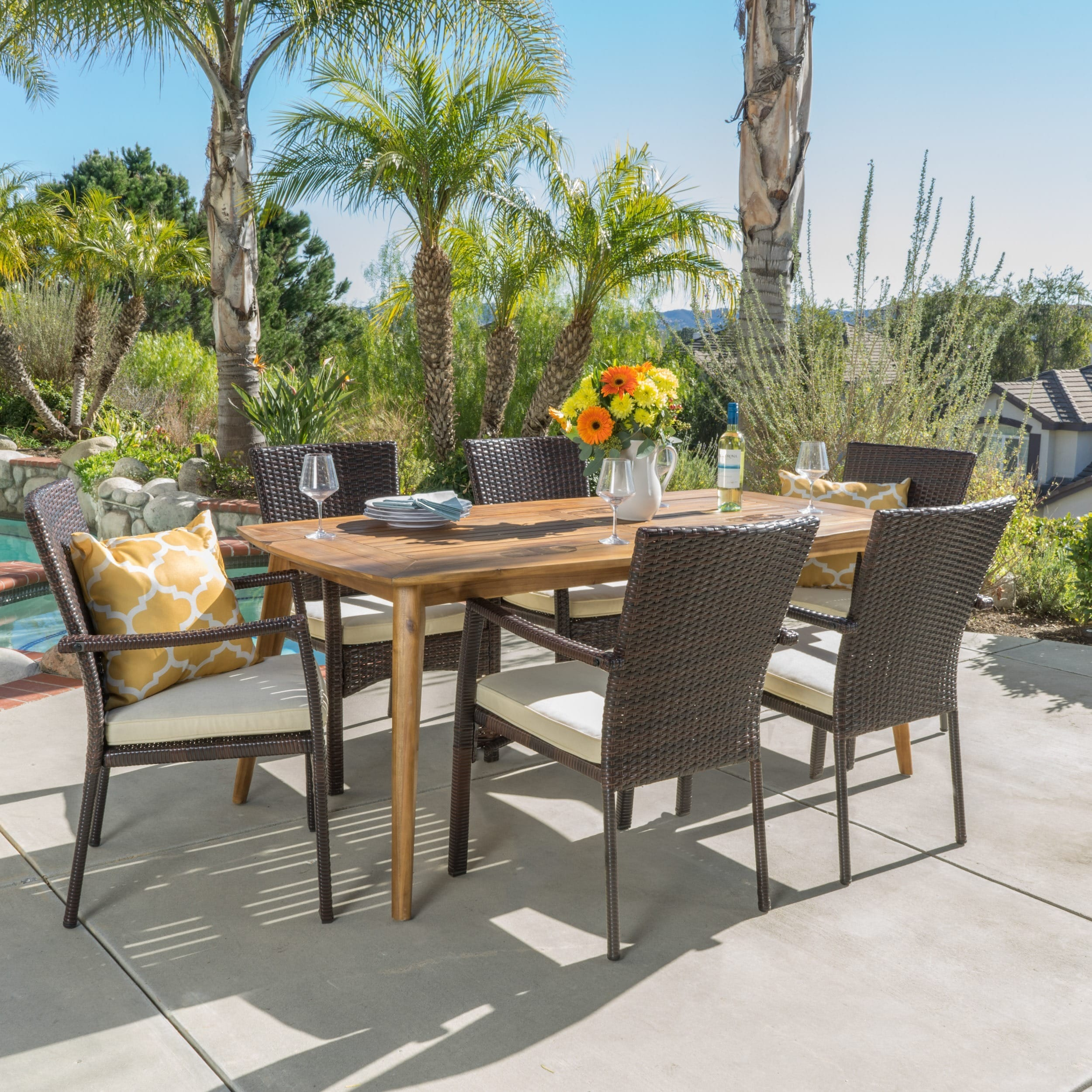 Shop talbot outdoor 7 piece wood rectangle dining set with cushions by christopher knight home on sale free shipping today overstock 14014305