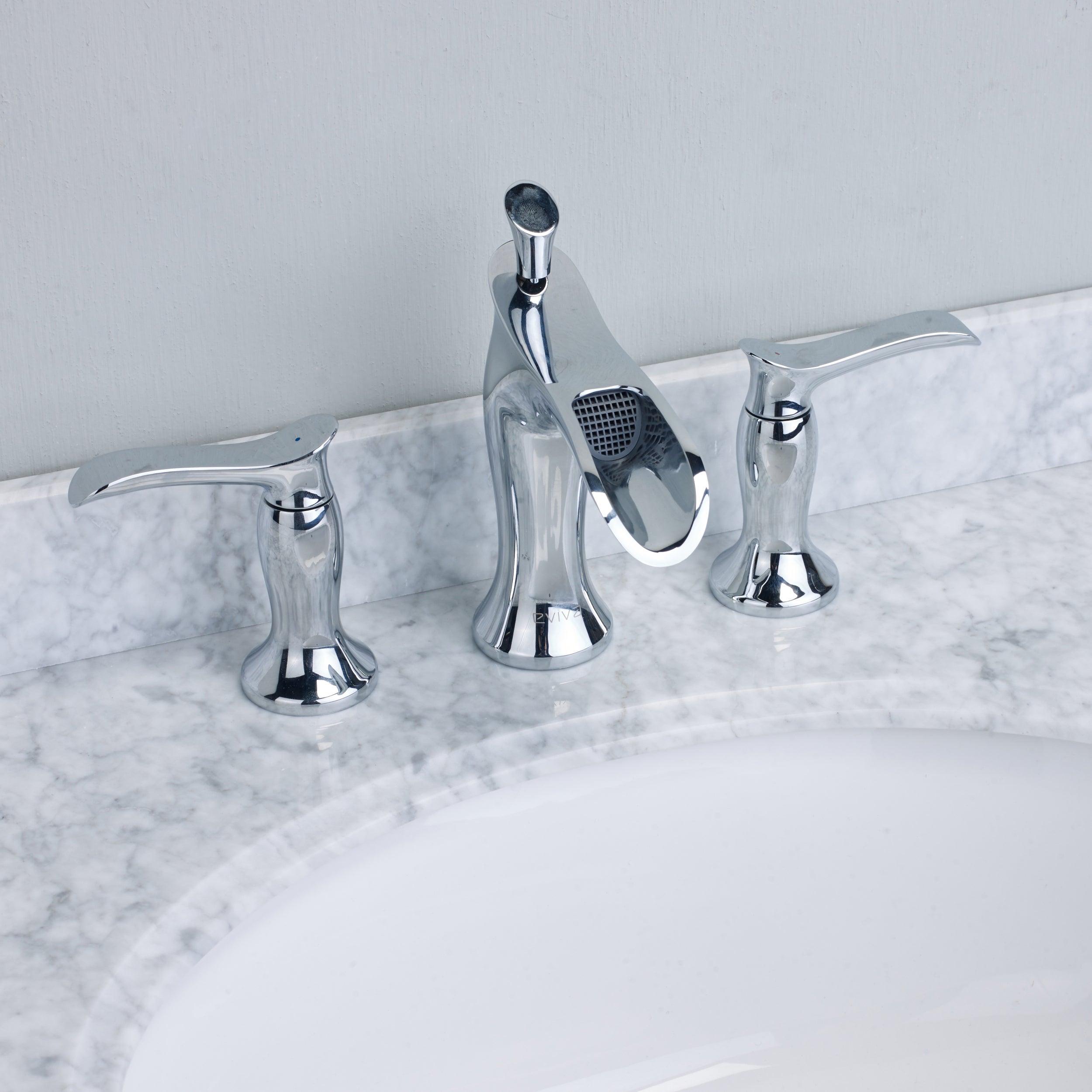 EVIVA Swan Luxury Water-fall Widespread 3-hole Bathroom Sink Faucet ...