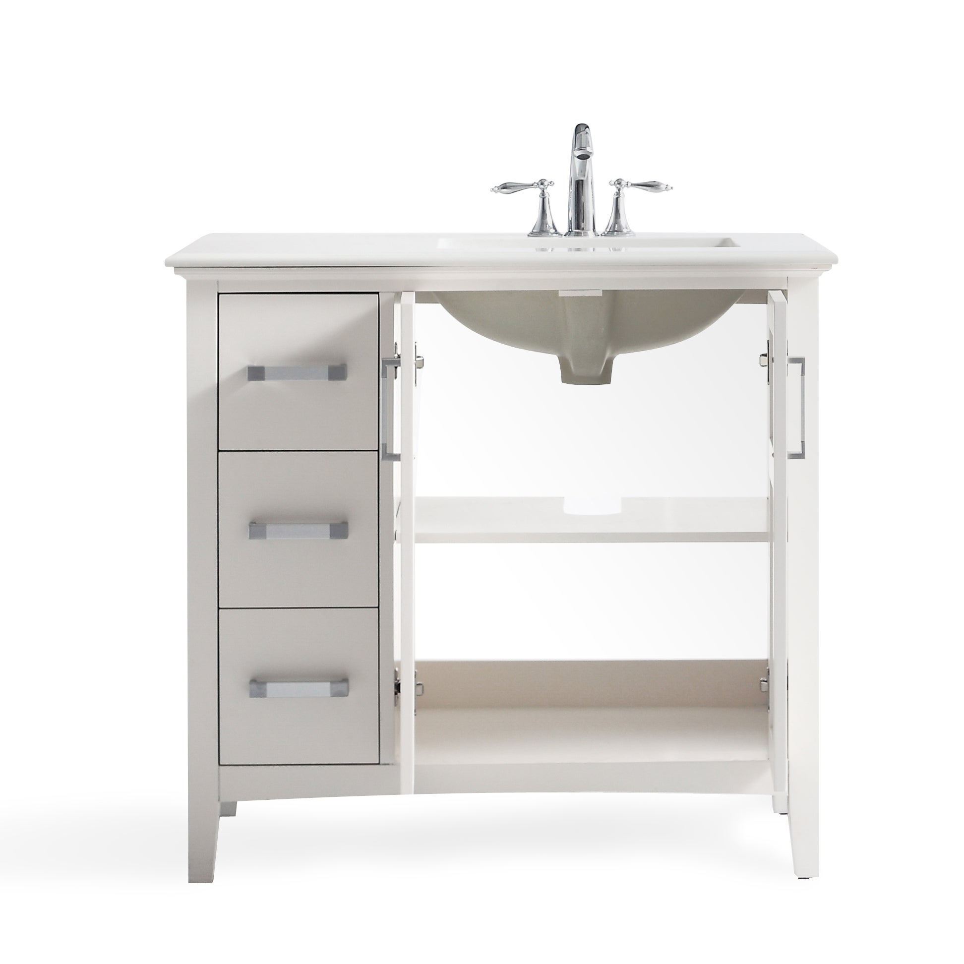 WYNDENHALL Salem 36-inch Left Offset Bath Vanity in White with White Quartz  Marble Top - Free Shipping Today - Overstock.com - 20649127