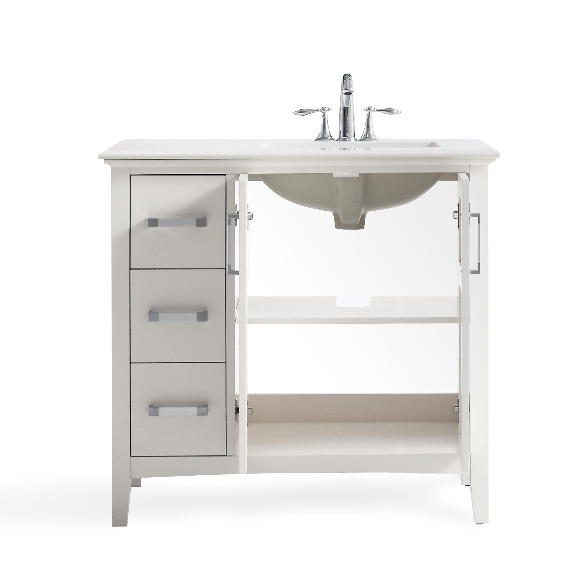Wyndenhall M 36 Inch Left Offset Bath Vanity In White With Quartz Marble Top On Free Shipping Today 14030630