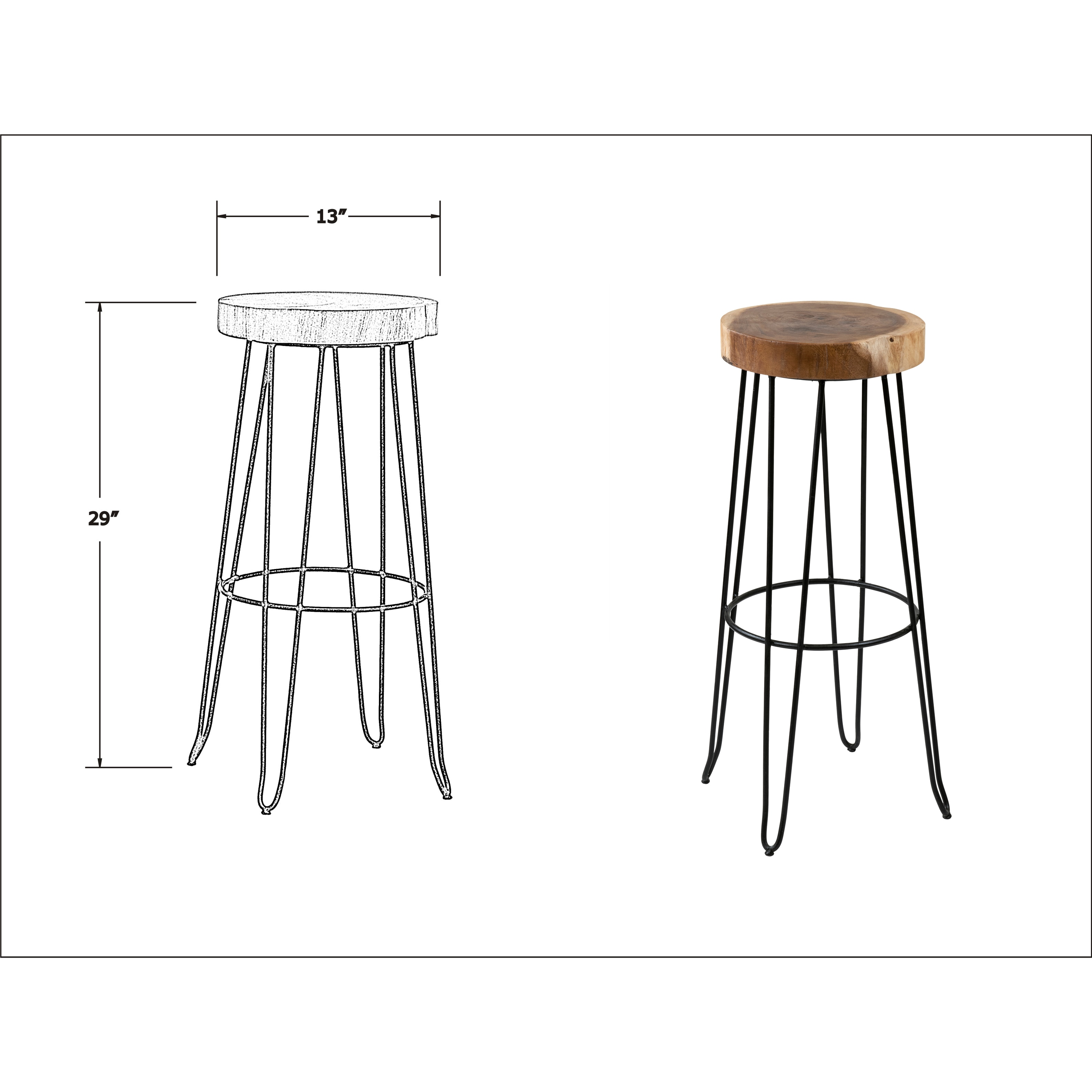 East At Main S Mapleton Brown Round Teakwood Barstool On Free Shipping Today 14030795