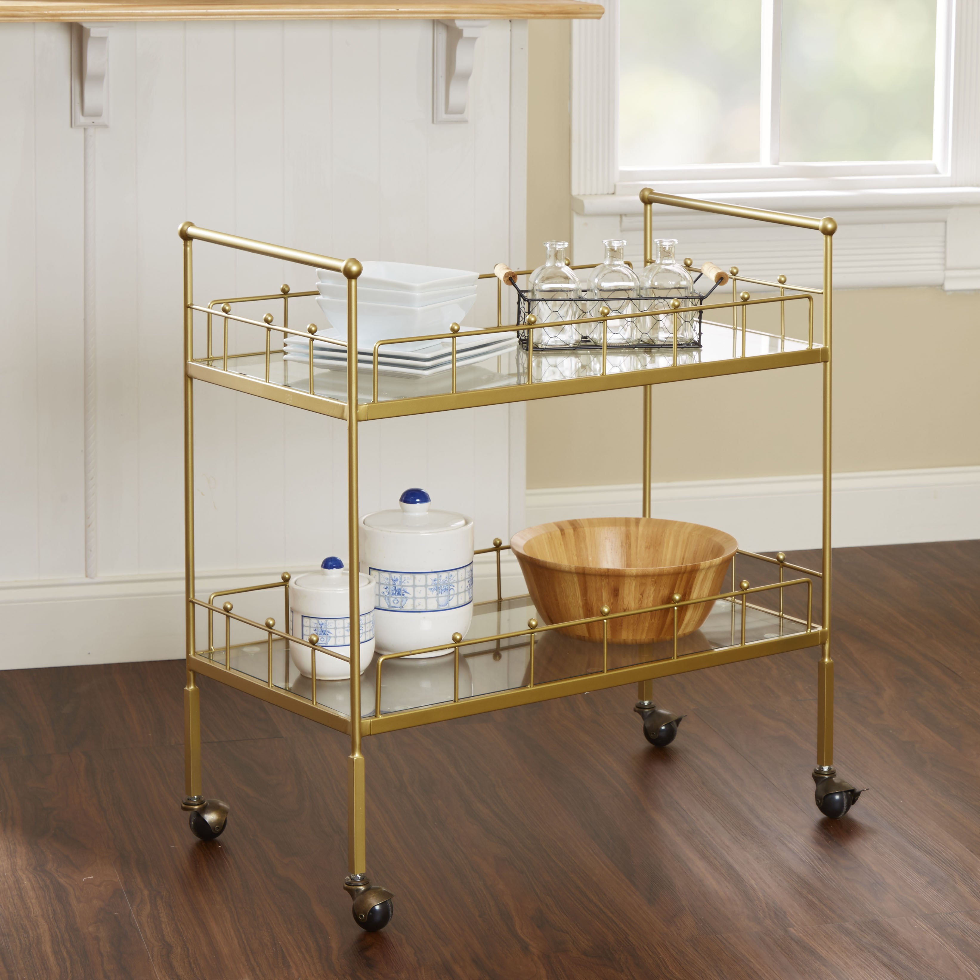 Shop Fitz Gold 2-tier Rectangular Serving Cart by Silverwood - Free ...