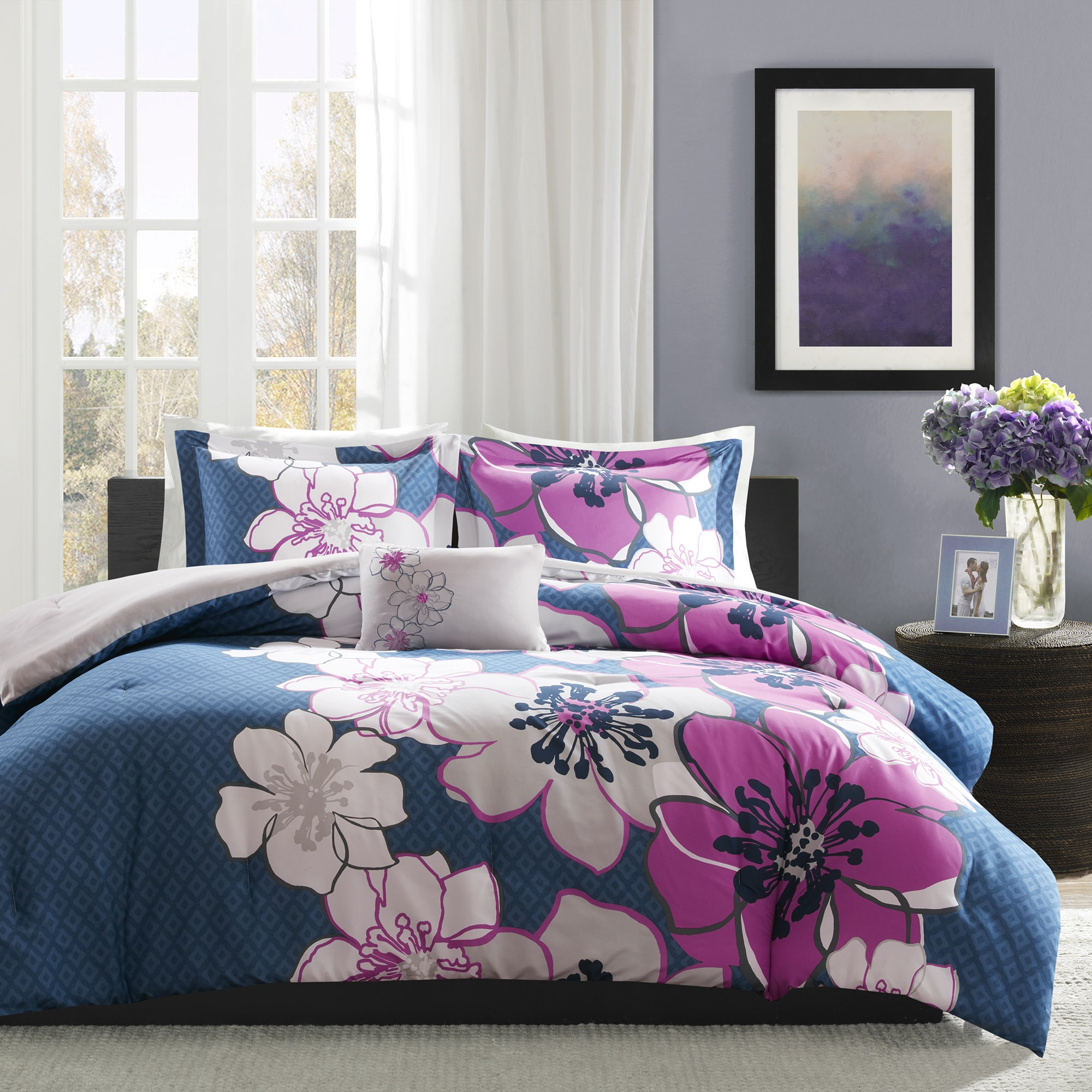 Shop Mi Zone Mackenzie Fuchsia Printed 4 Piece Comforter Set   Free  Shipping Today   Overstock.com   14031685