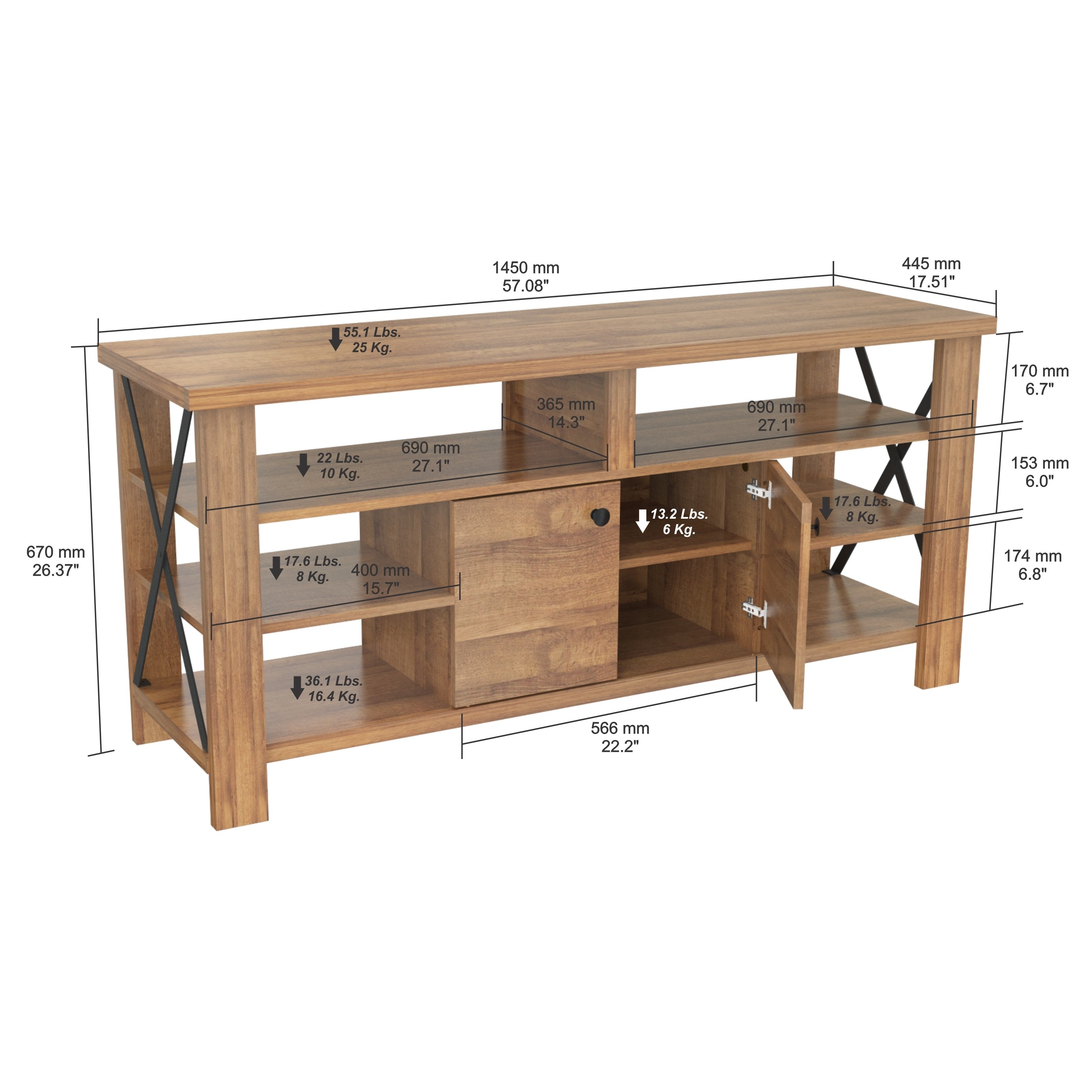 Inval Urban Open Back Transitional Tv Stand On Free Shipping Today 14036036